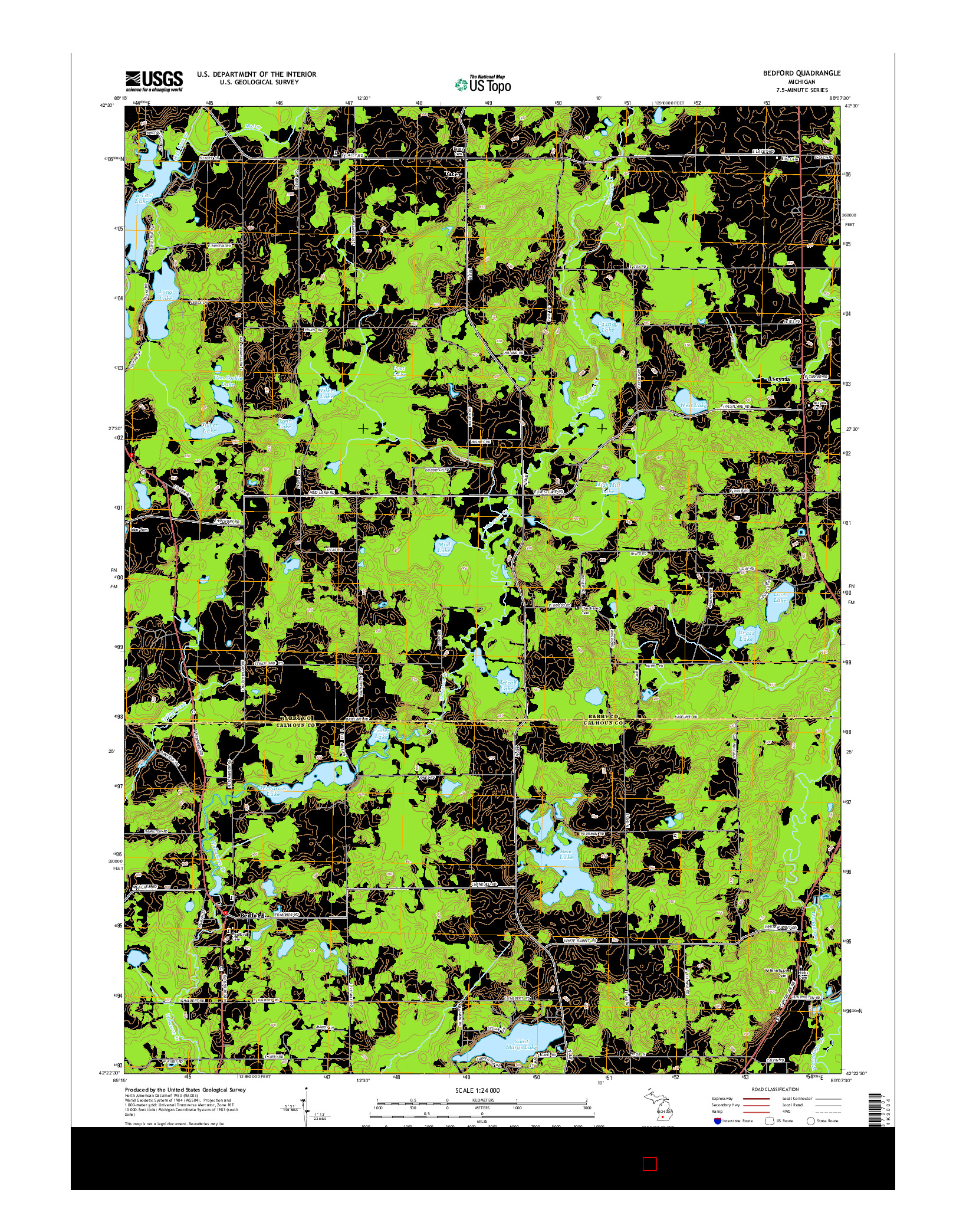 USGS US TOPO 7.5-MINUTE MAP FOR BEDFORD, MI 2014