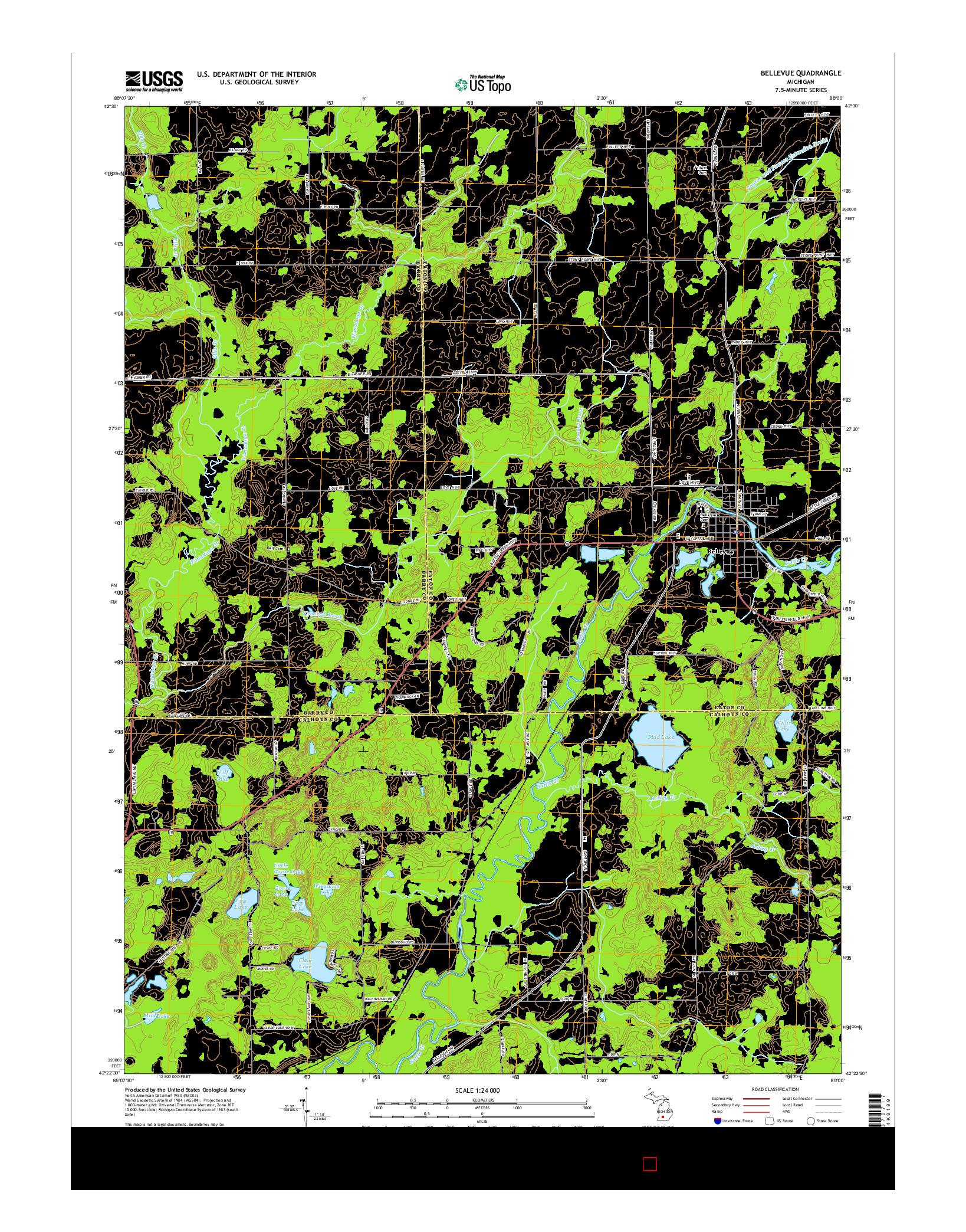 USGS US TOPO 7.5-MINUTE MAP FOR BELLEVUE, MI 2014
