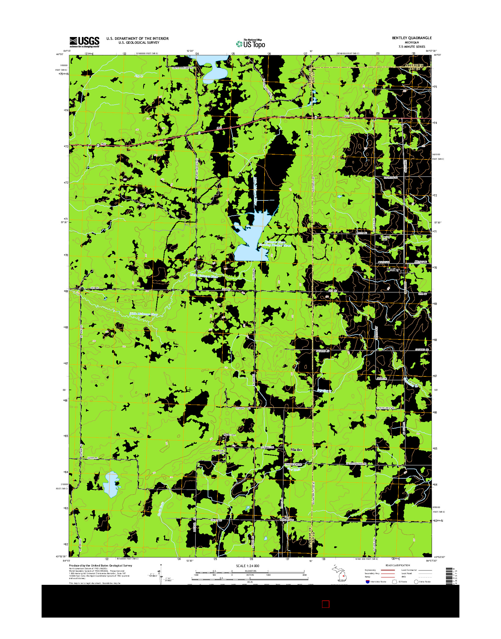 USGS US TOPO 7.5-MINUTE MAP FOR BENTLEY, MI 2014