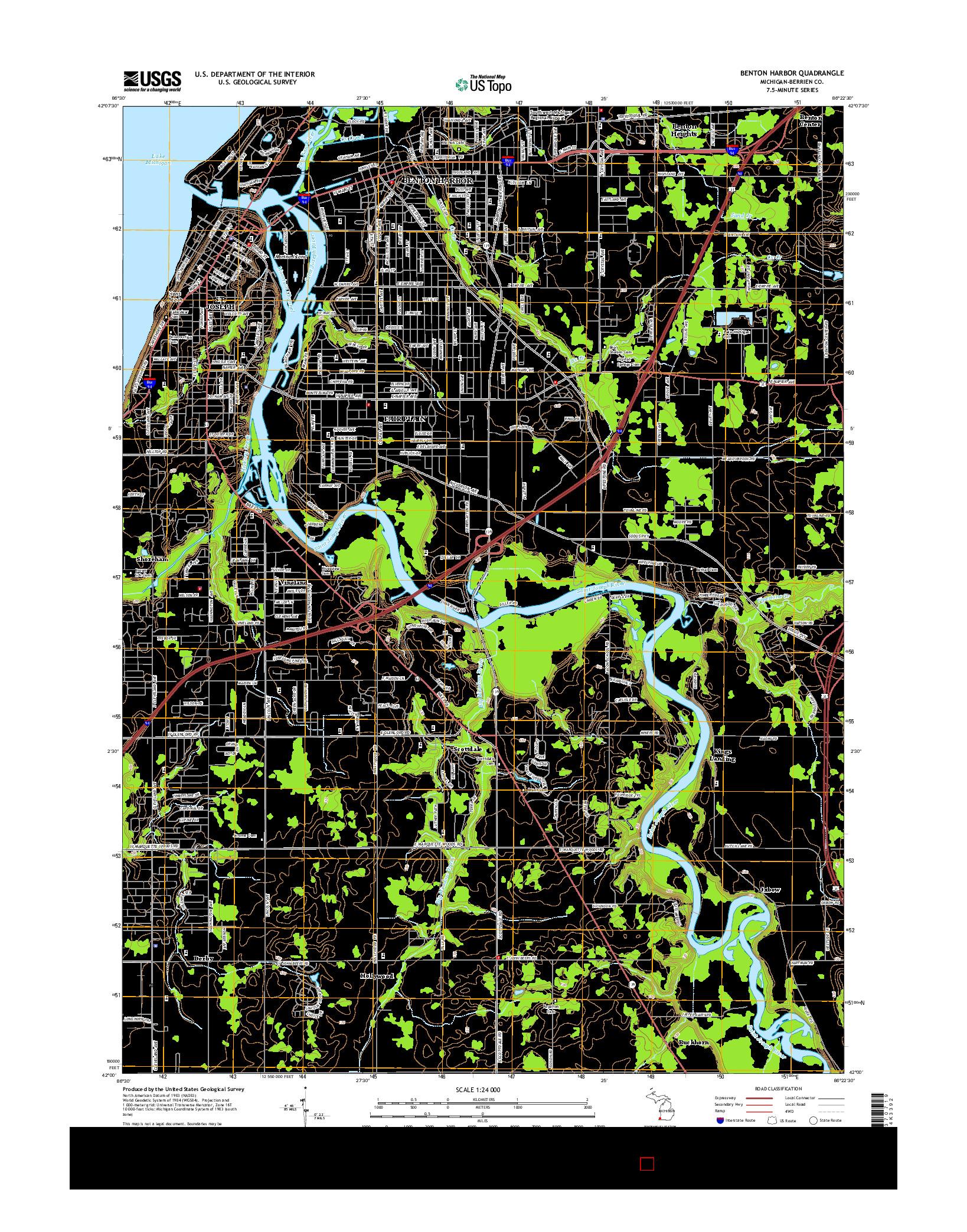 USGS US TOPO 7.5-MINUTE MAP FOR BENTON HARBOR, MI 2014