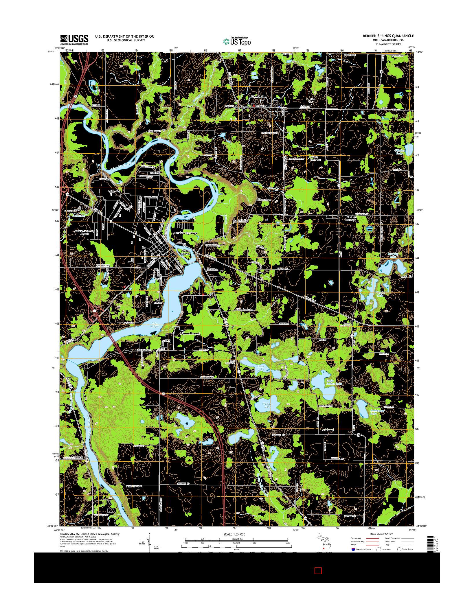 USGS US TOPO 7.5-MINUTE MAP FOR BERRIEN SPRINGS, MI 2014