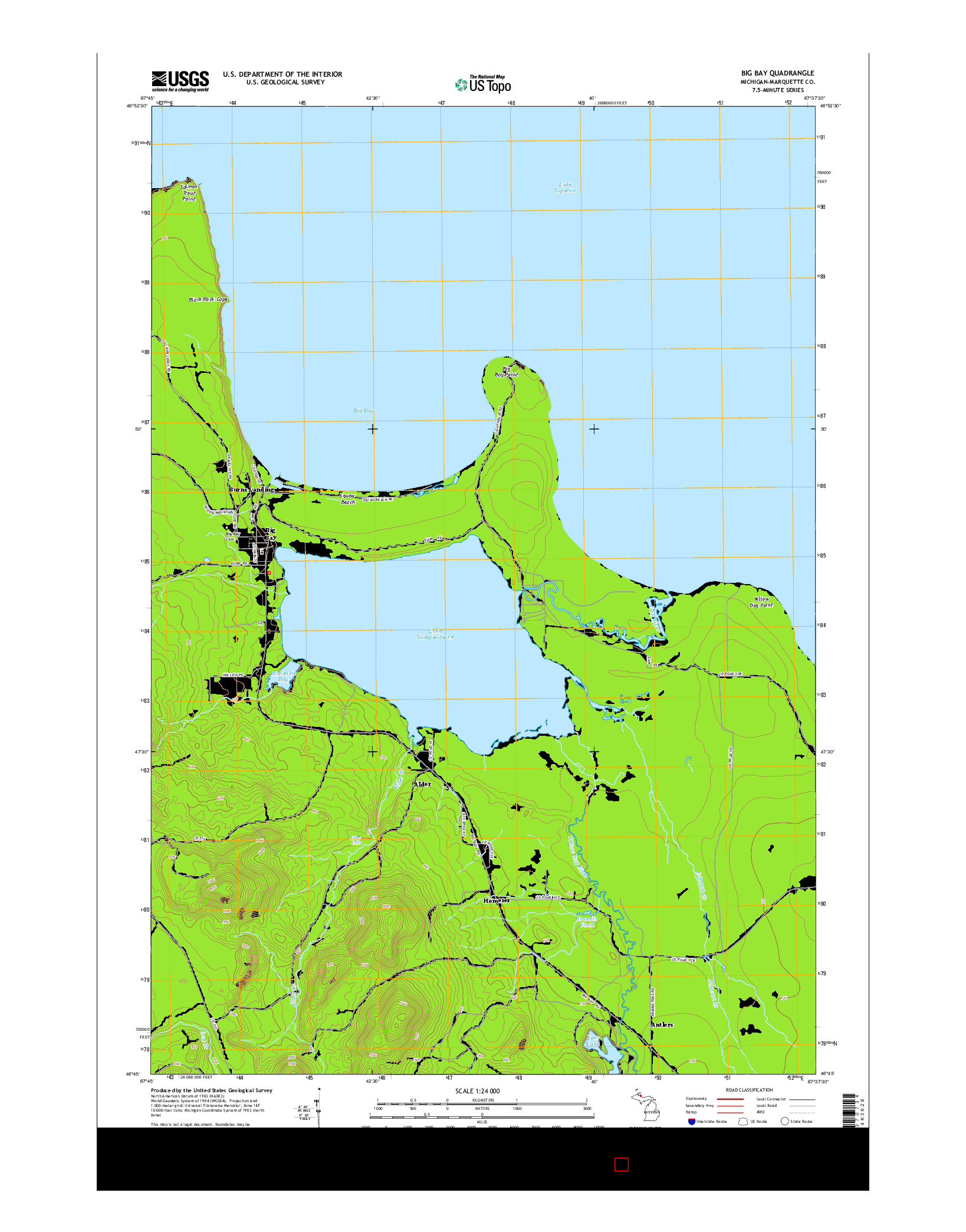 USGS US TOPO 7.5-MINUTE MAP FOR BIG BAY, MI 2014