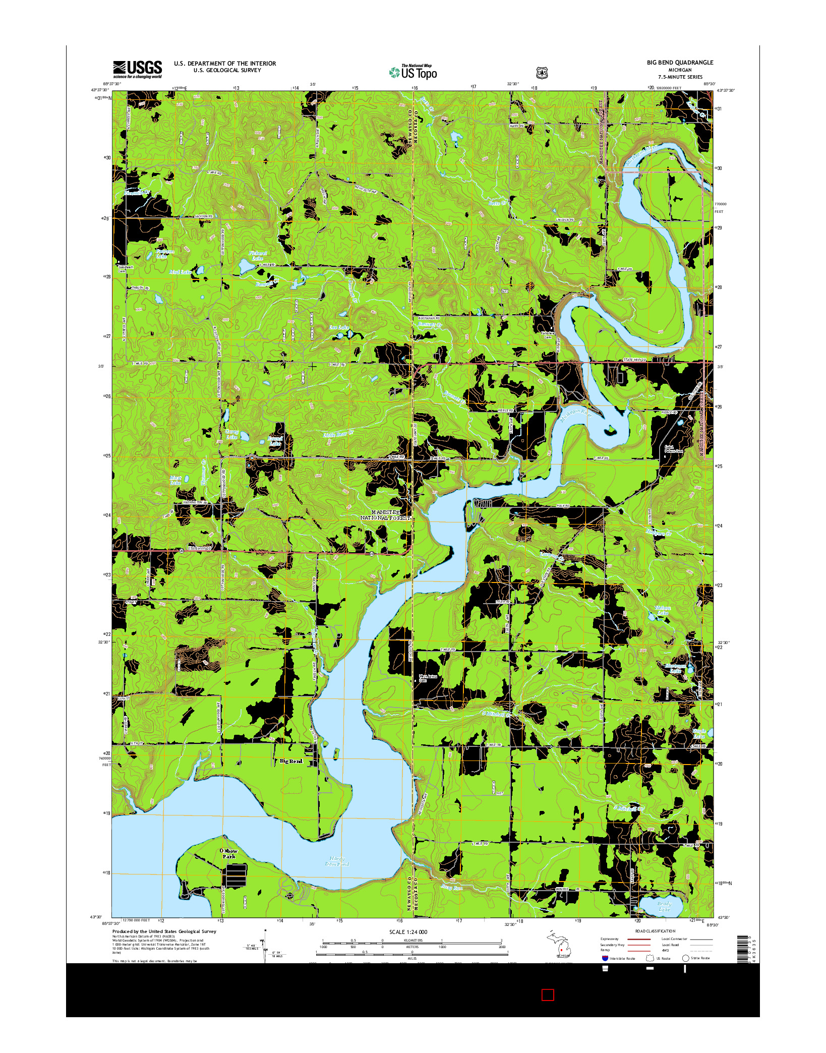 USGS US TOPO 7.5-MINUTE MAP FOR BIG BEND, MI 2014