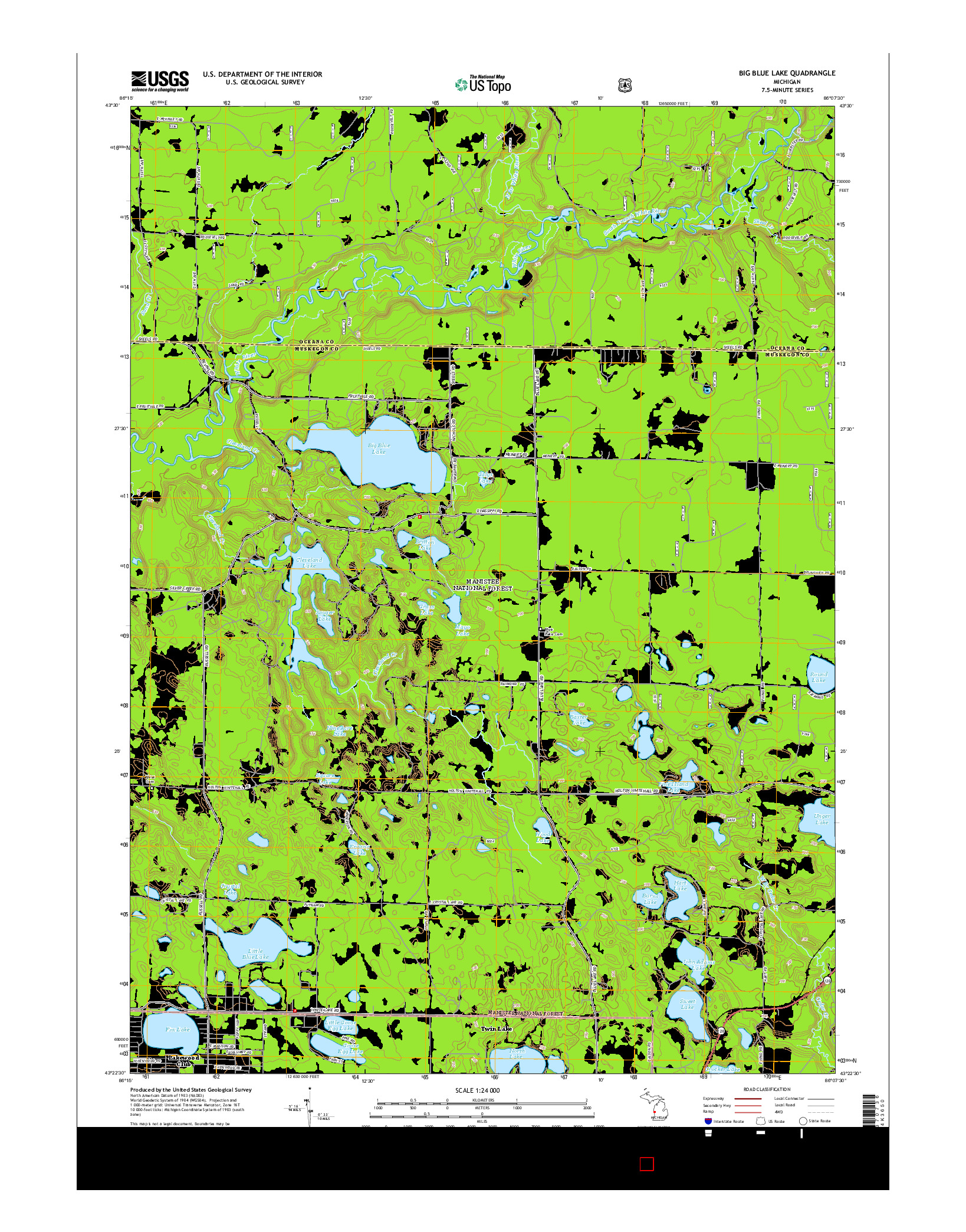 USGS US TOPO 7.5-MINUTE MAP FOR BIG BLUE LAKE, MI 2014