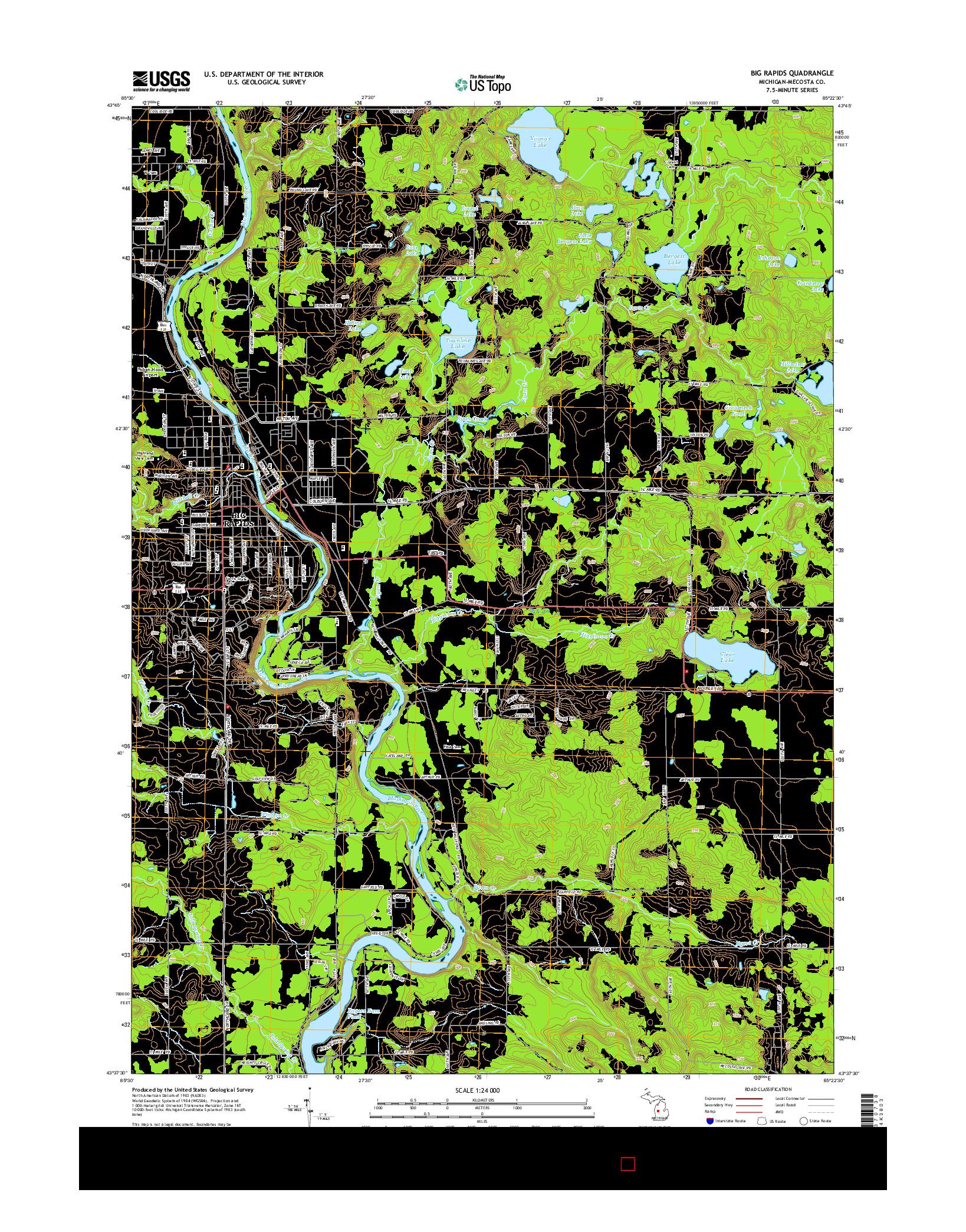 USGS US TOPO 7.5-MINUTE MAP FOR BIG RAPIDS, MI 2014
