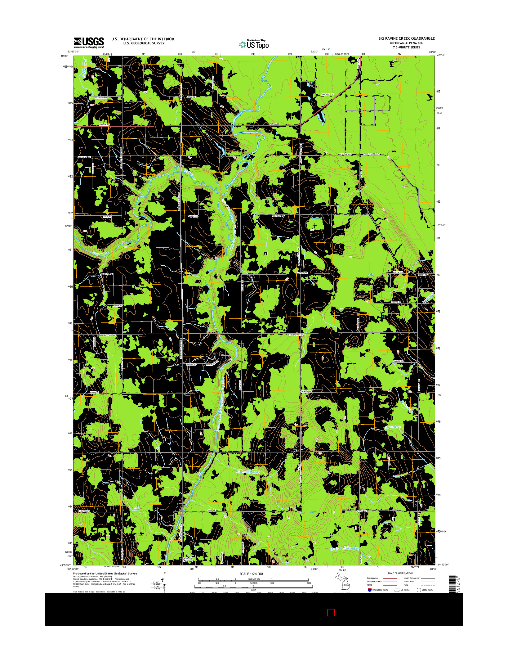 USGS US TOPO 7.5-MINUTE MAP FOR BIG RAVINE CREEK, MI 2014