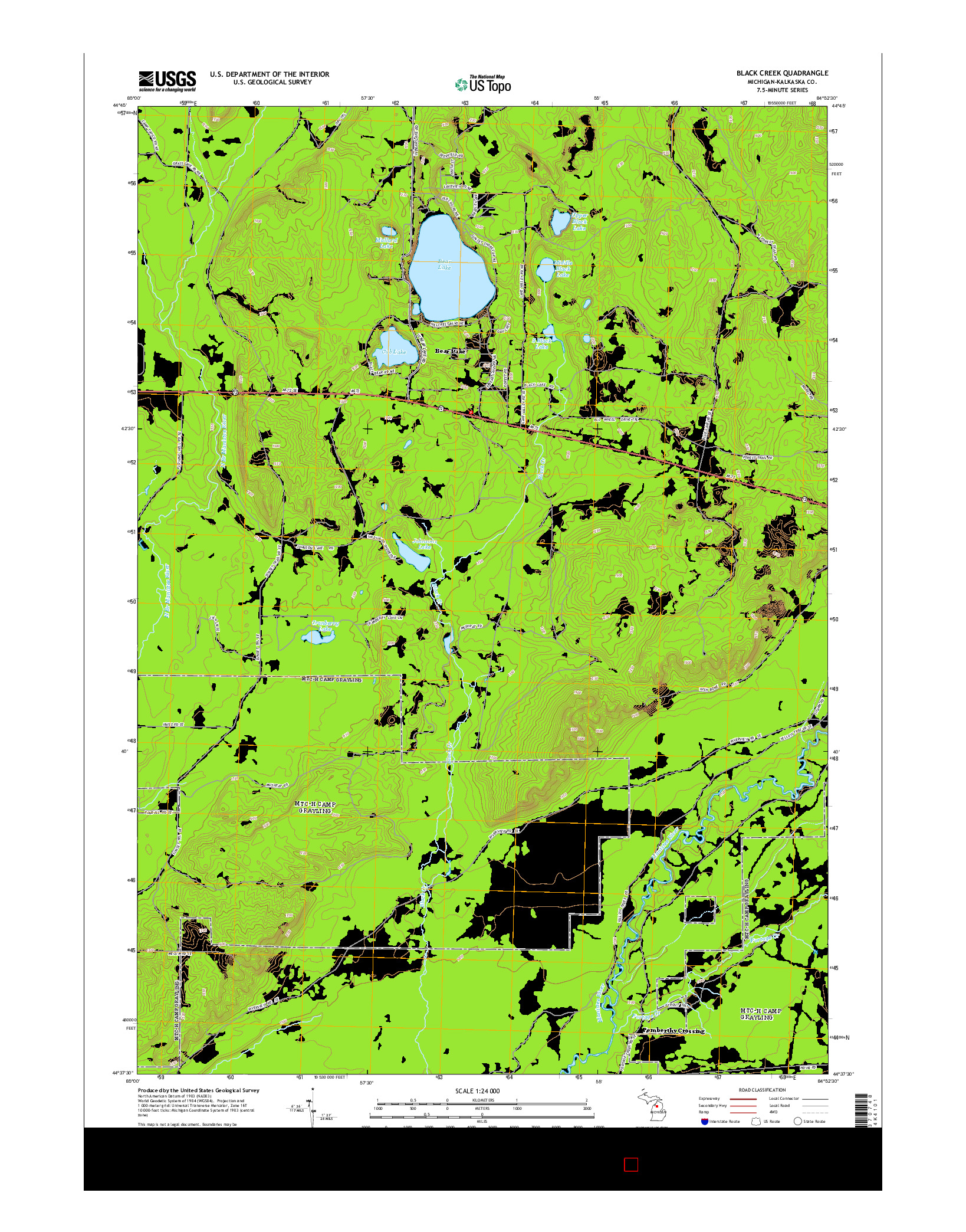 USGS US TOPO 7.5-MINUTE MAP FOR BLACK CREEK, MI 2014