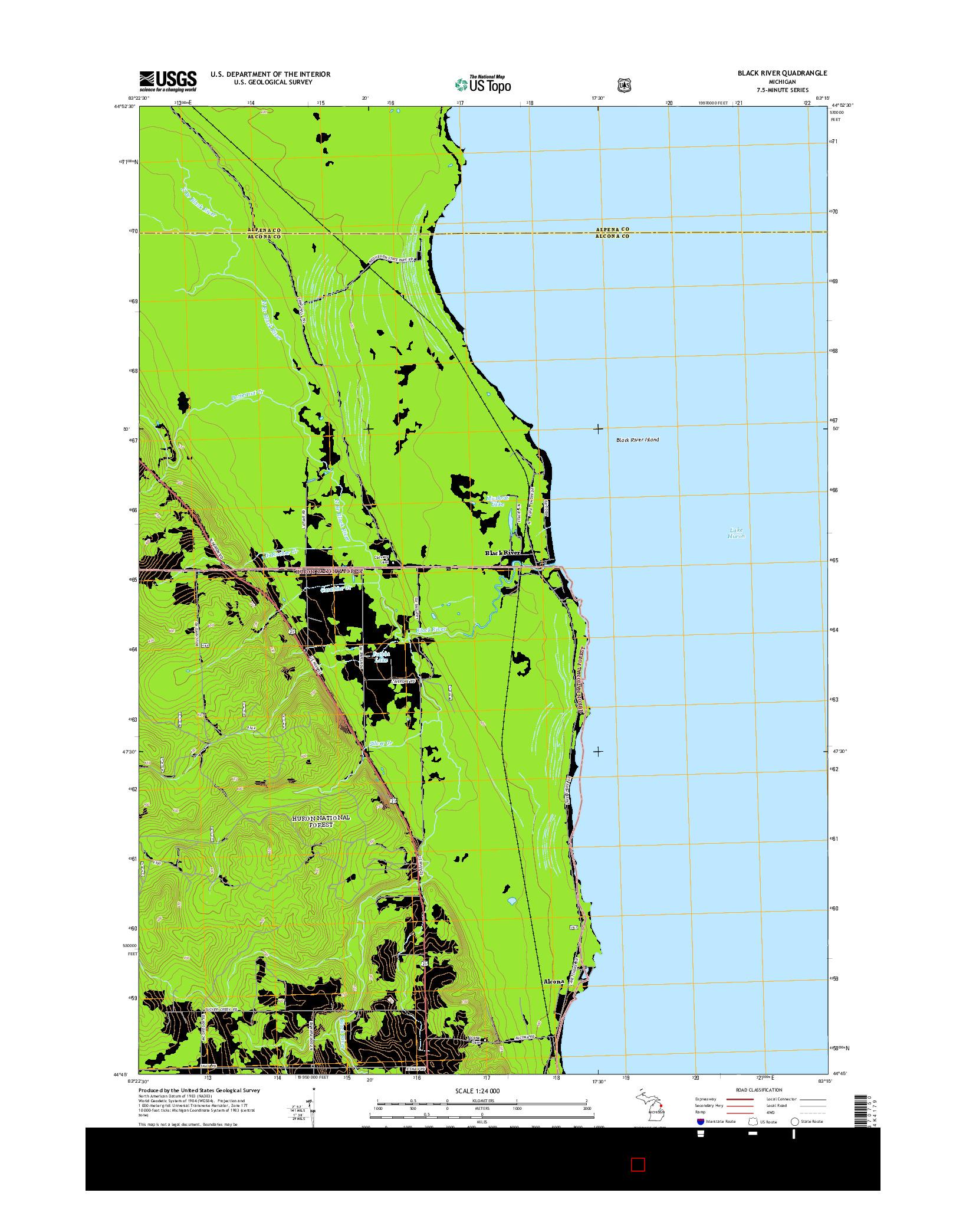 USGS US TOPO 7.5-MINUTE MAP FOR BLACK RIVER, MI 2014
