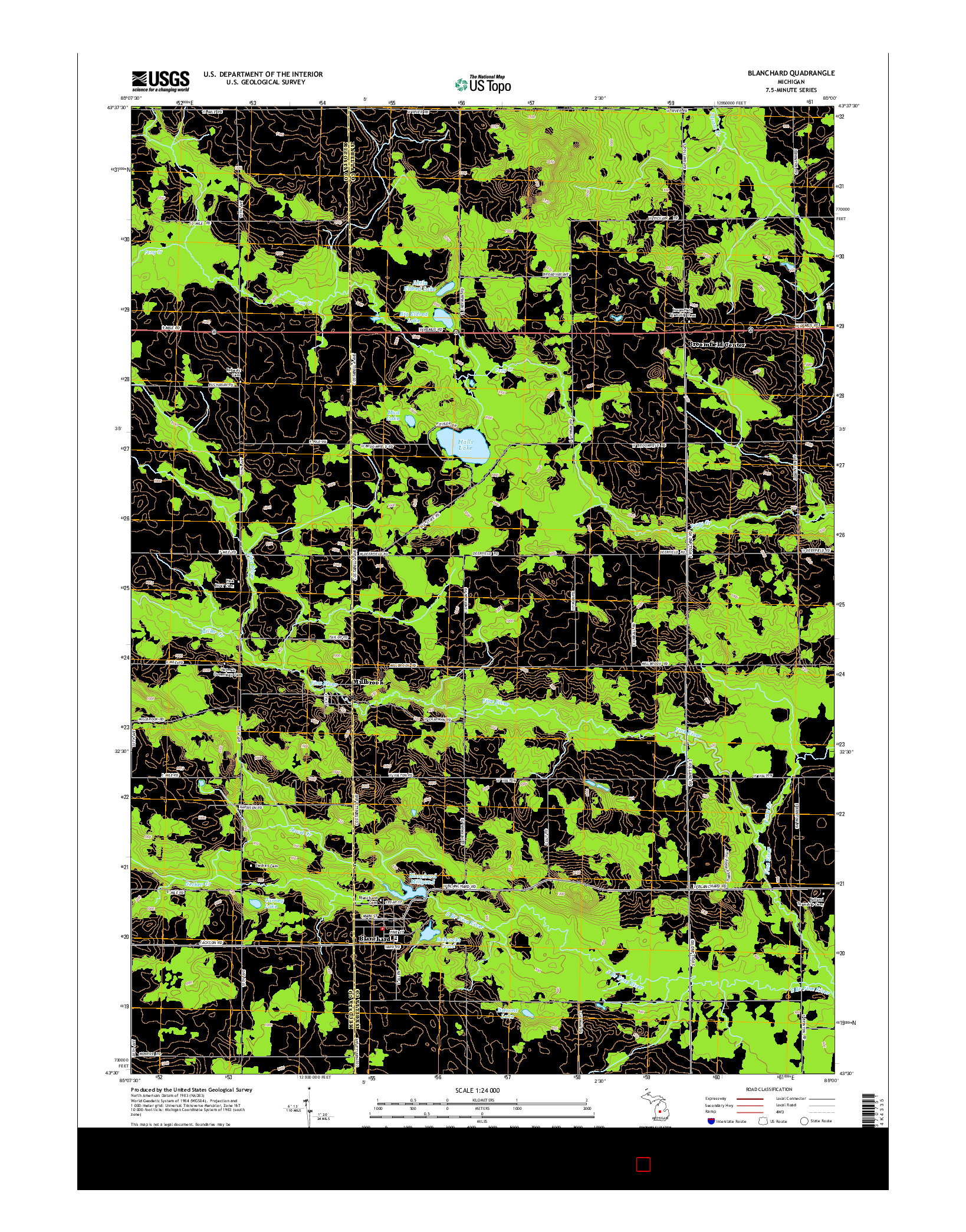 USGS US TOPO 7.5-MINUTE MAP FOR BLANCHARD, MI 2014