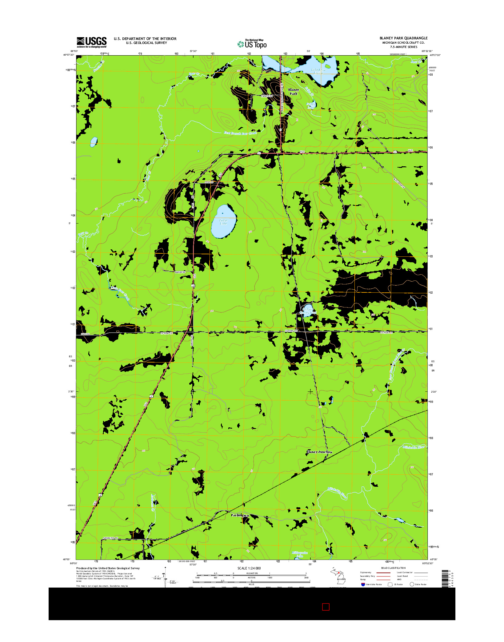 USGS US TOPO 7.5-MINUTE MAP FOR BLANEY PARK, MI 2014