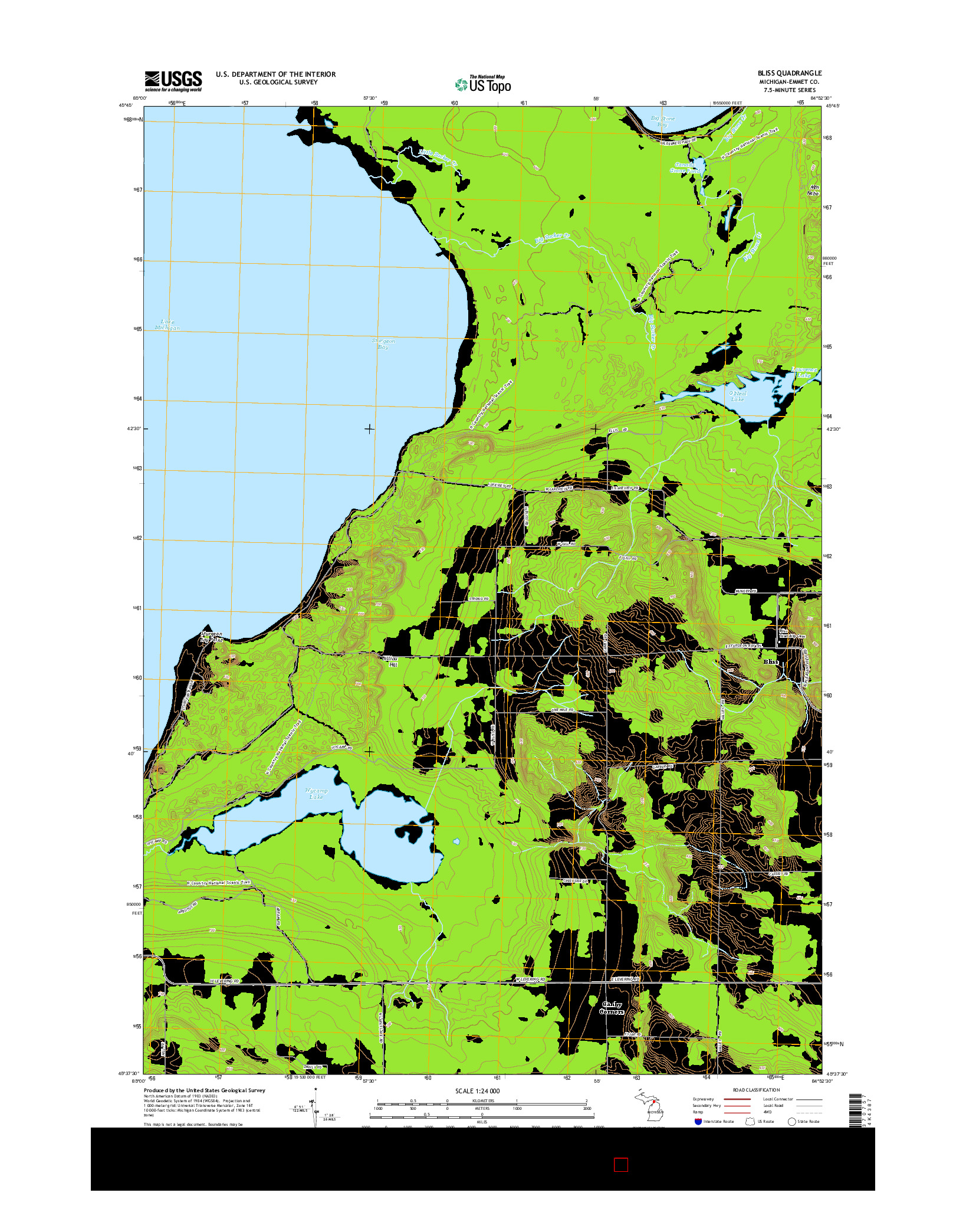 USGS US TOPO 7.5-MINUTE MAP FOR BLISS, MI 2014