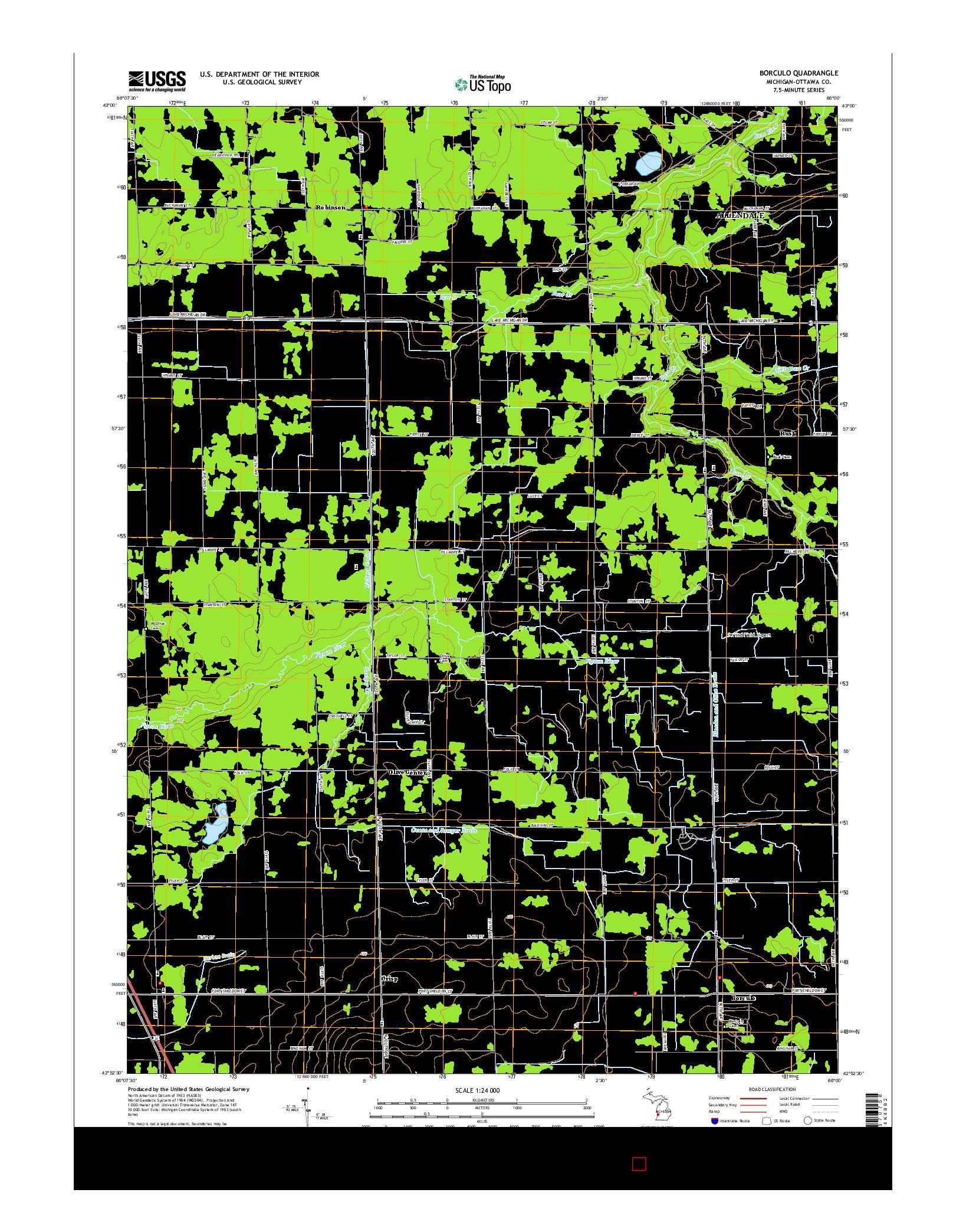 USGS US TOPO 7.5-MINUTE MAP FOR BORCULO, MI 2014