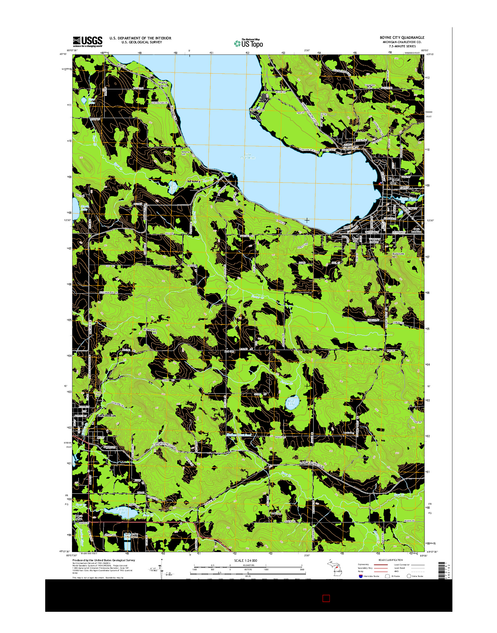 USGS US TOPO 7.5-MINUTE MAP FOR BOYNE CITY, MI 2014