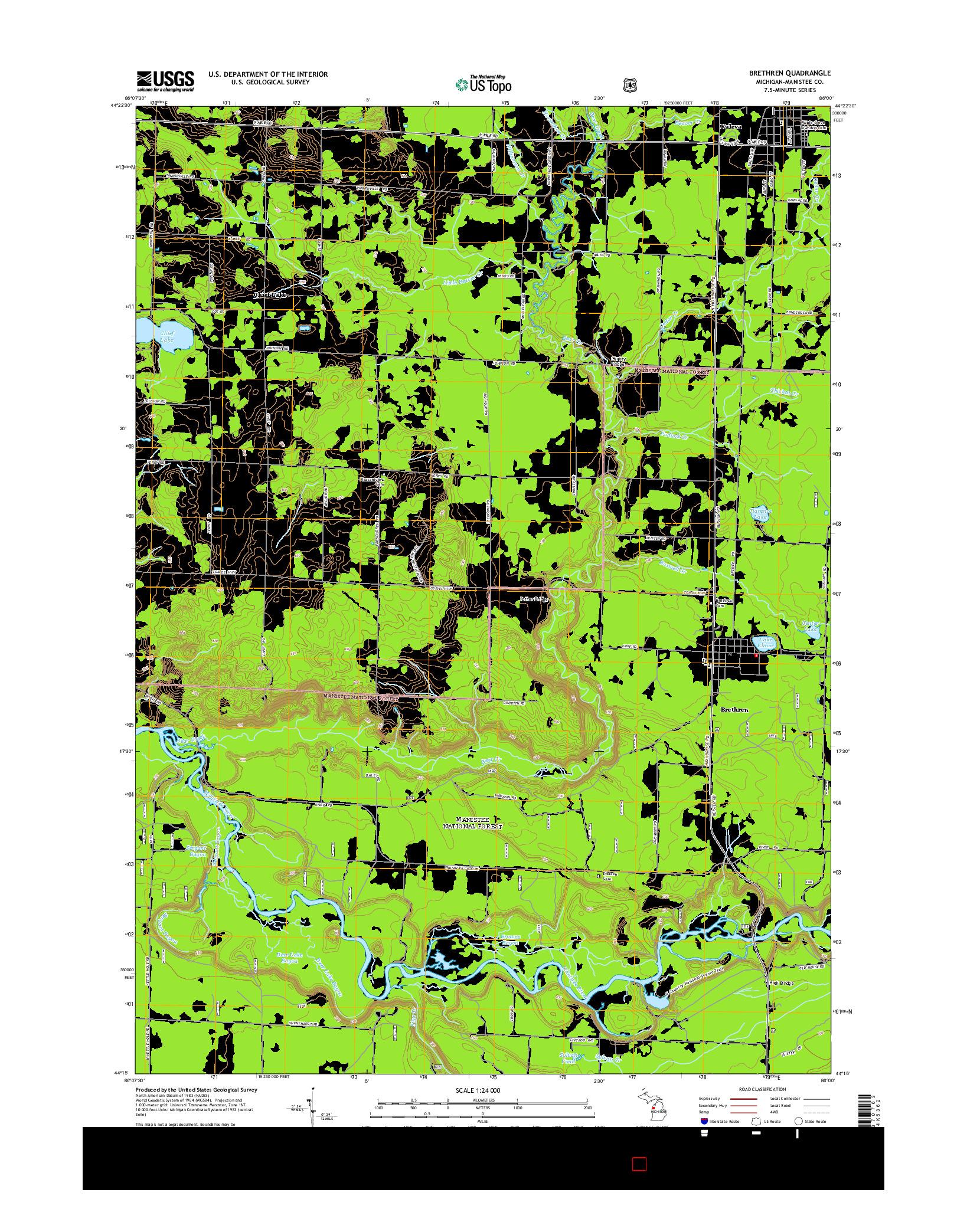 USGS US TOPO 7.5-MINUTE MAP FOR BRETHREN, MI 2014