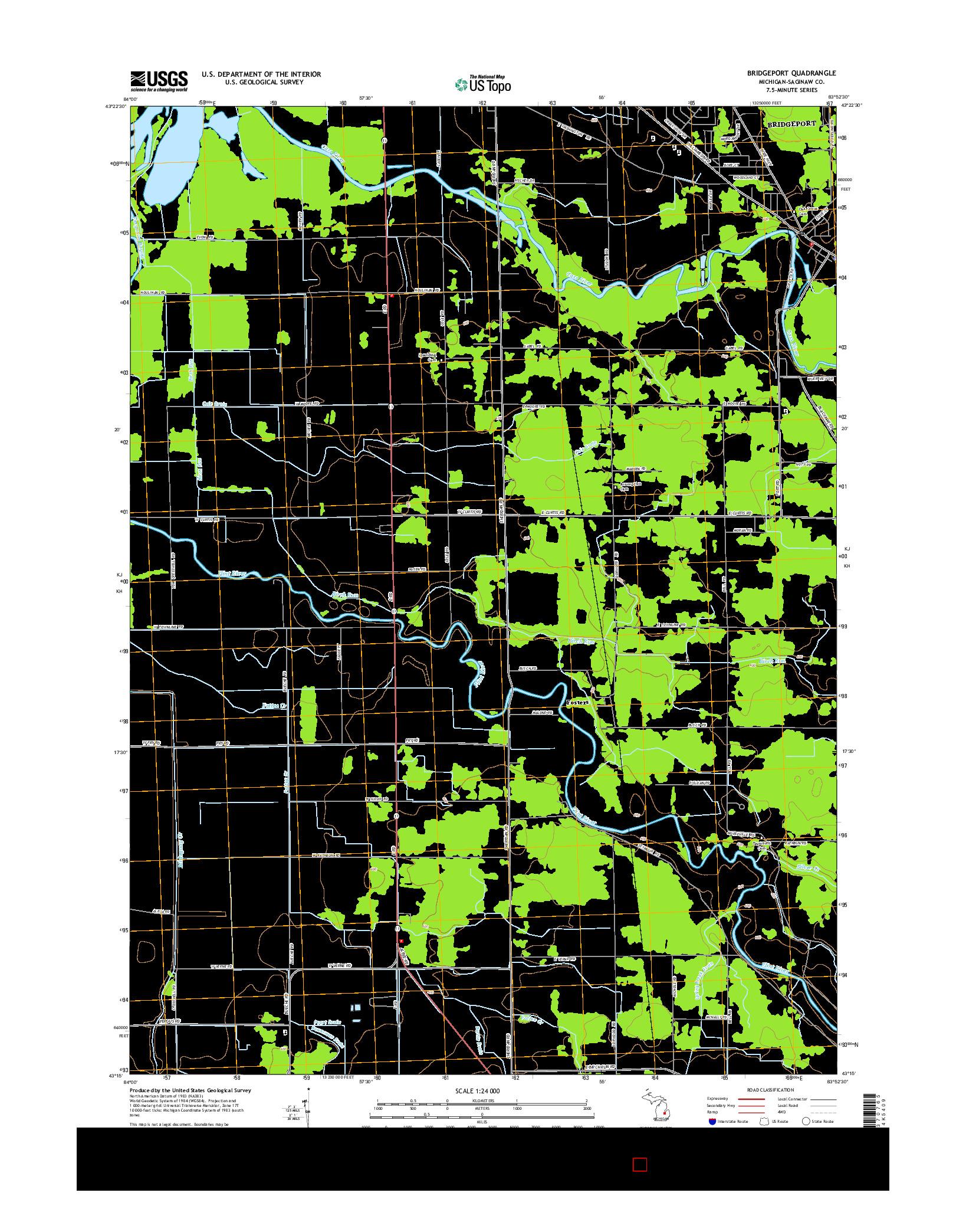 USGS US TOPO 7.5-MINUTE MAP FOR BRIDGEPORT, MI 2014