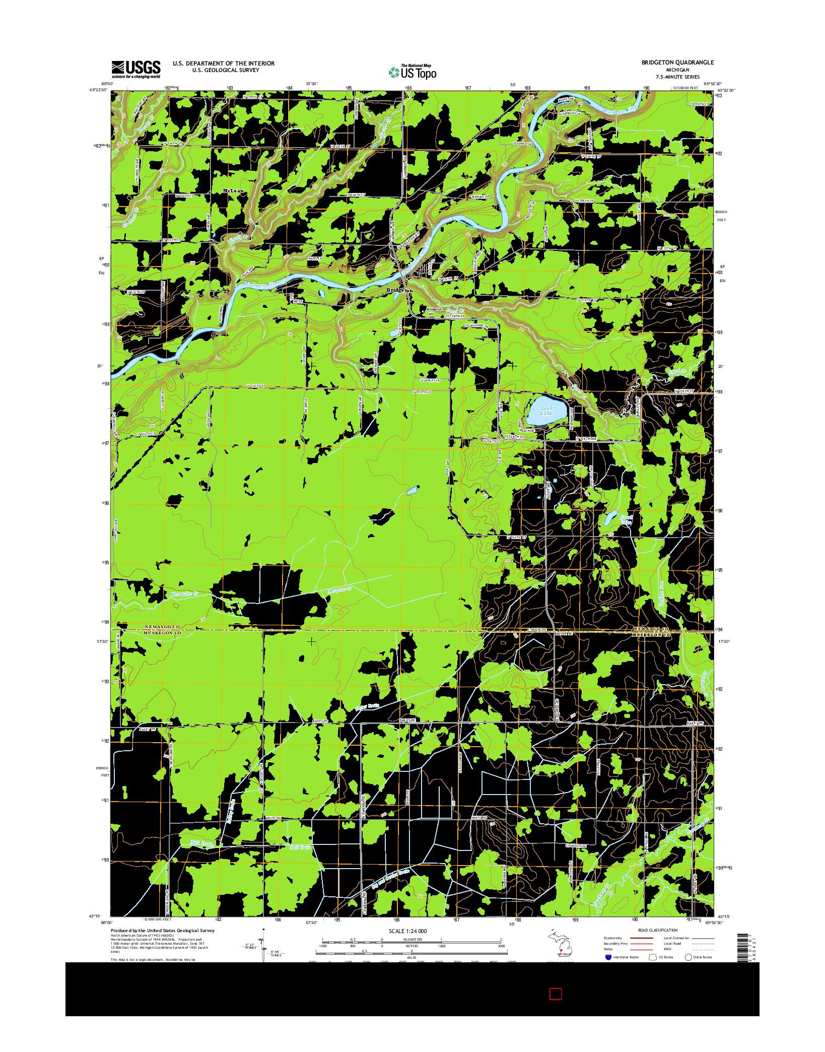 USGS US TOPO 7.5-MINUTE MAP FOR BRIDGETON, MI 2014