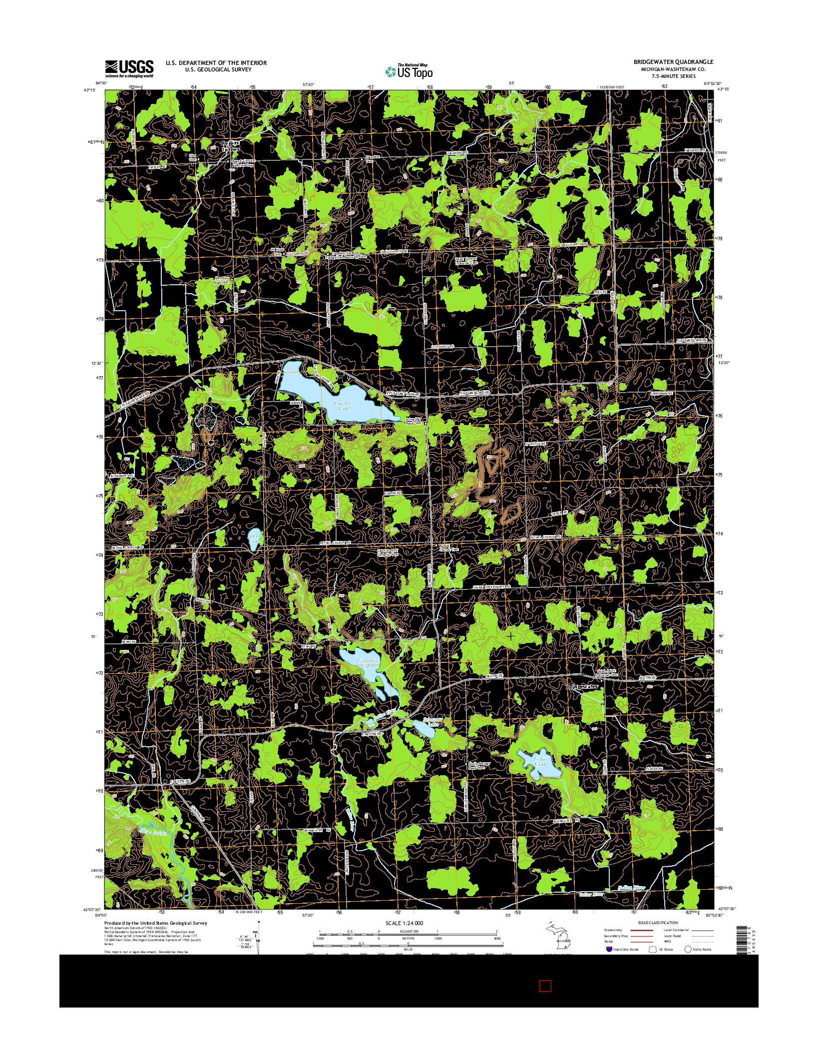 USGS US TOPO 7.5-MINUTE MAP FOR BRIDGEWATER, MI 2014