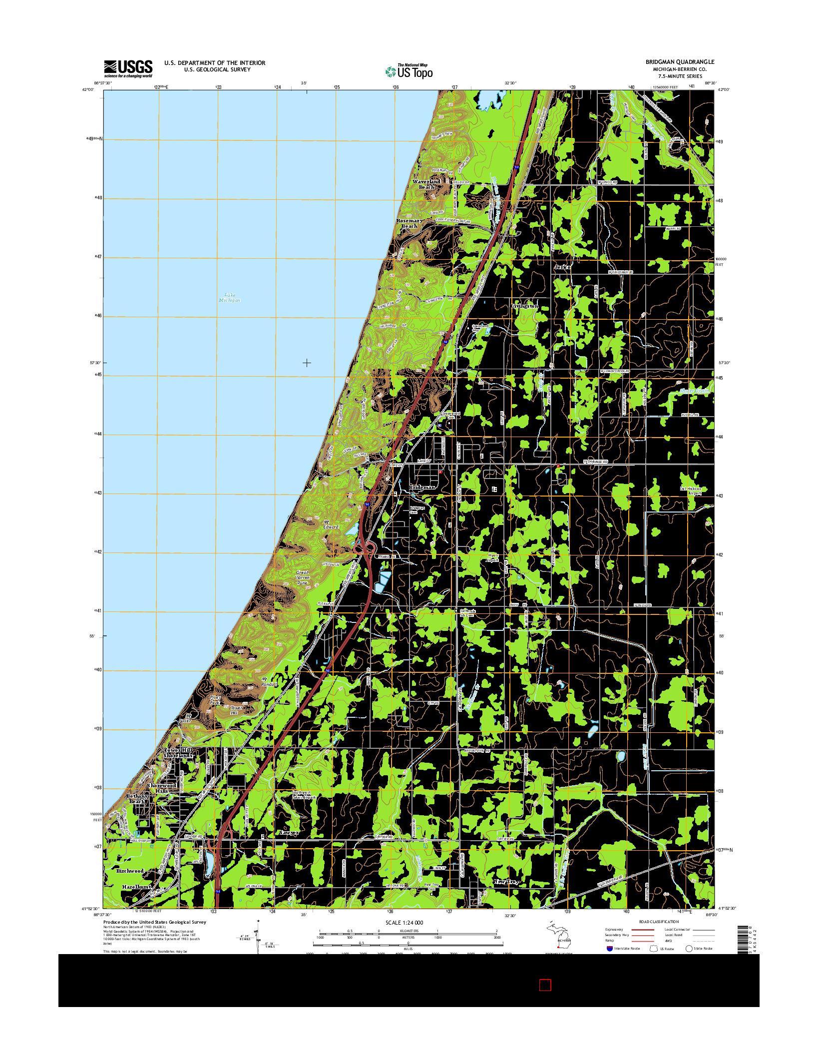 USGS US TOPO 7.5-MINUTE MAP FOR BRIDGMAN, MI 2014