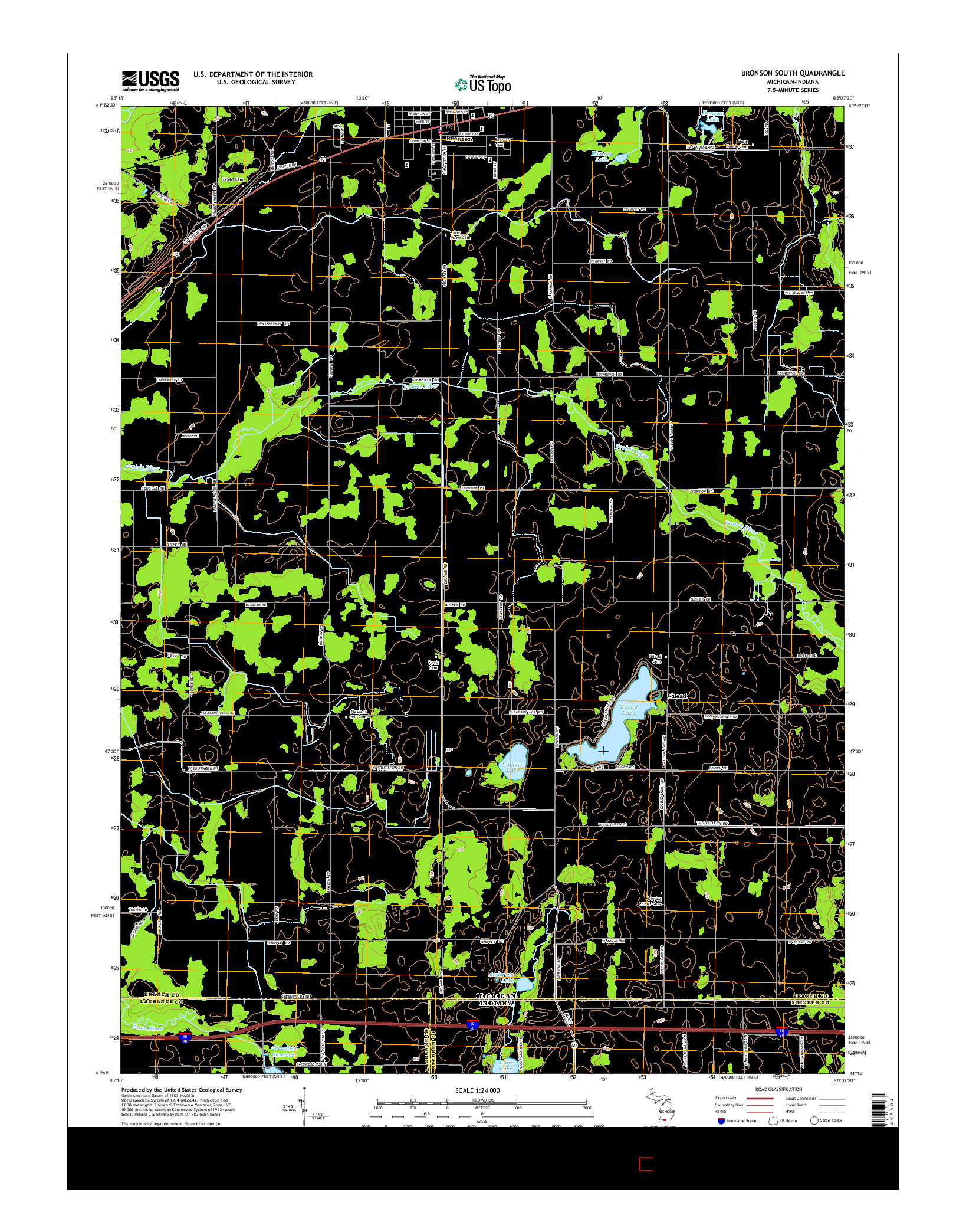 USGS US TOPO 7.5-MINUTE MAP FOR BRONSON SOUTH, MI-IN 2014