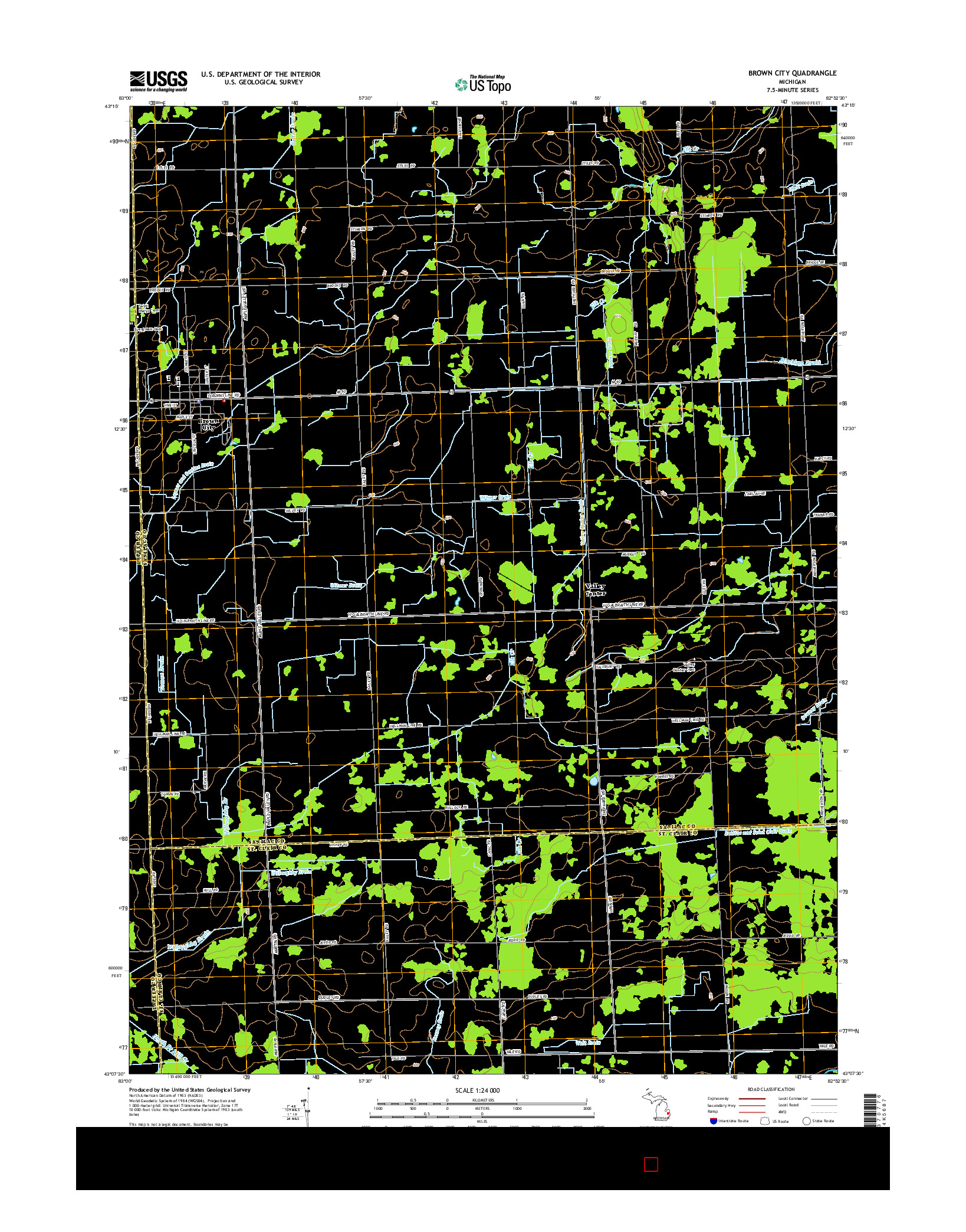 USGS US TOPO 7.5-MINUTE MAP FOR BROWN CITY, MI 2014
