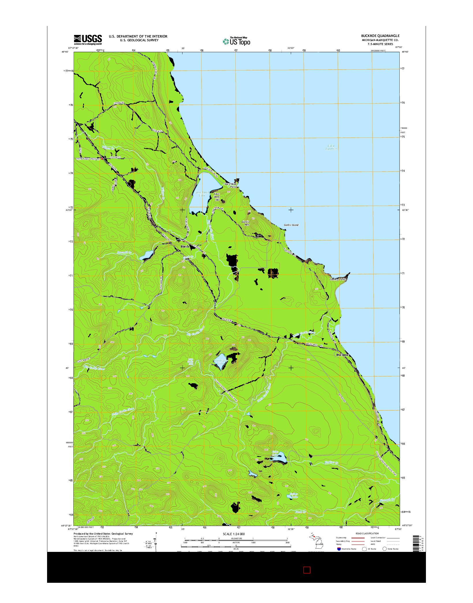 USGS US TOPO 7.5-MINUTE MAP FOR BUCKROE, MI 2014