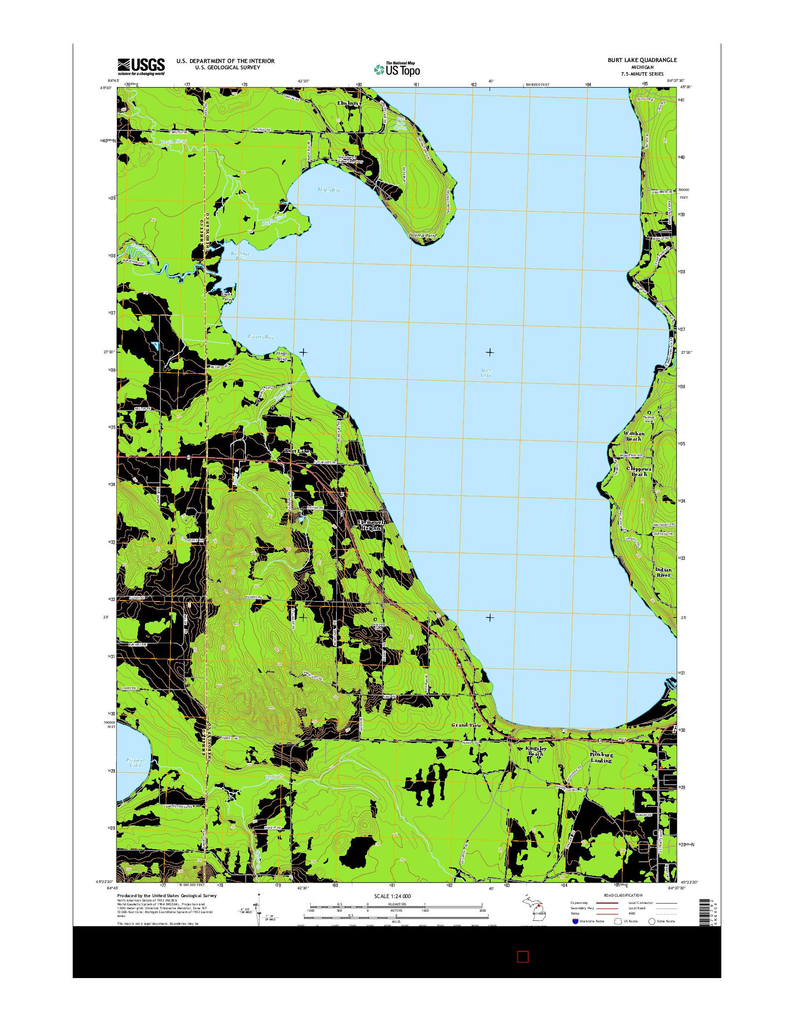 USGS US TOPO 7.5-MINUTE MAP FOR BURT LAKE, MI 2014