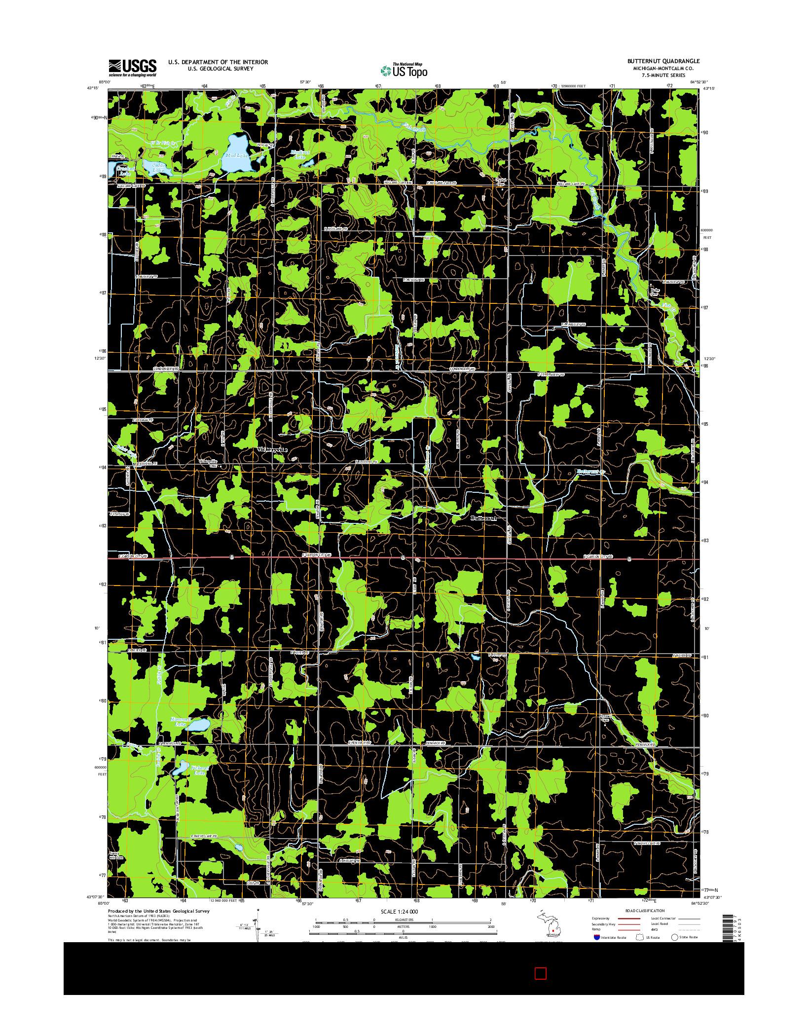 USGS US TOPO 7.5-MINUTE MAP FOR BUTTERNUT, MI 2014