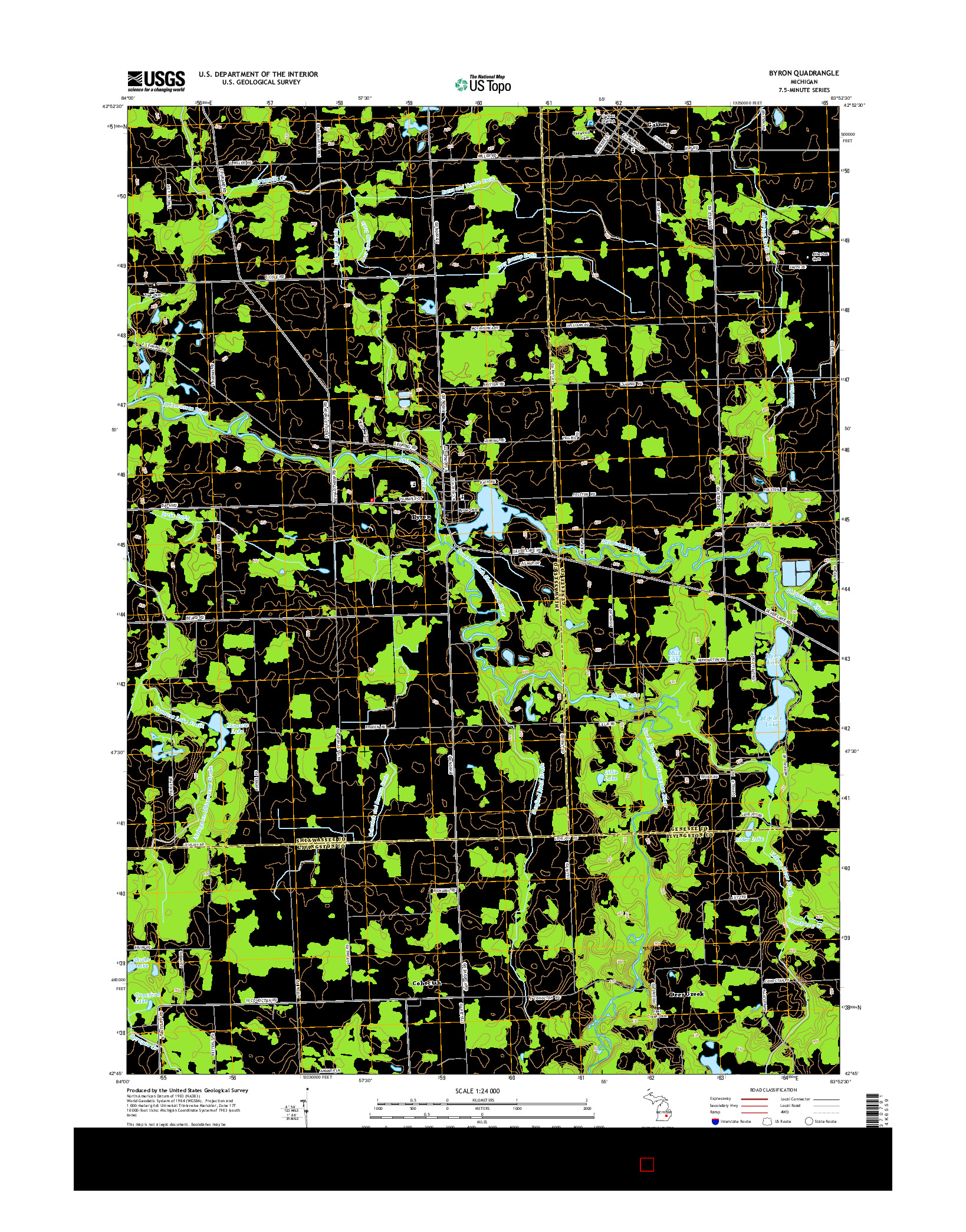 USGS US TOPO 7.5-MINUTE MAP FOR BYRON, MI 2014