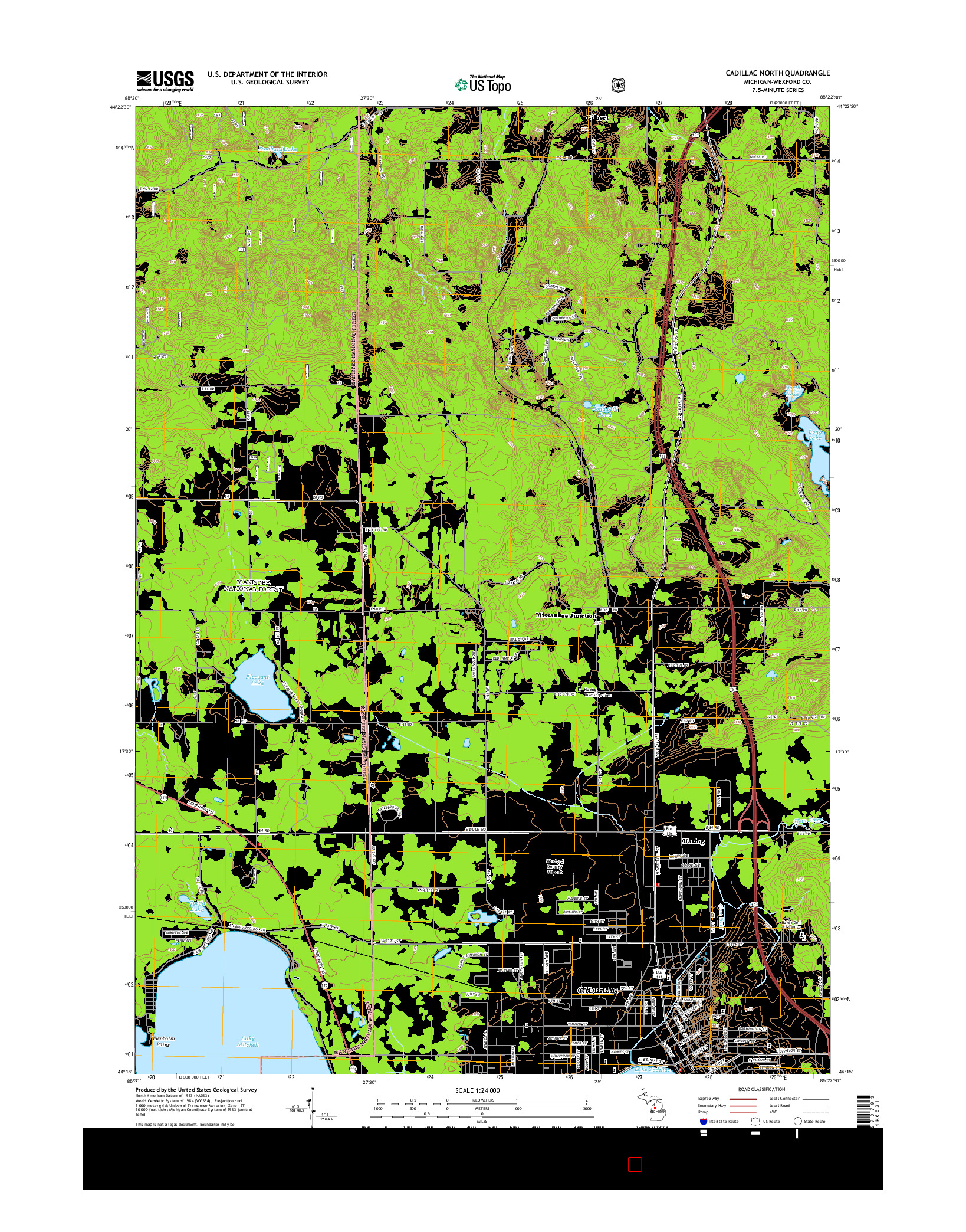 USGS US TOPO 7.5-MINUTE MAP FOR CADILLAC NORTH, MI 2014