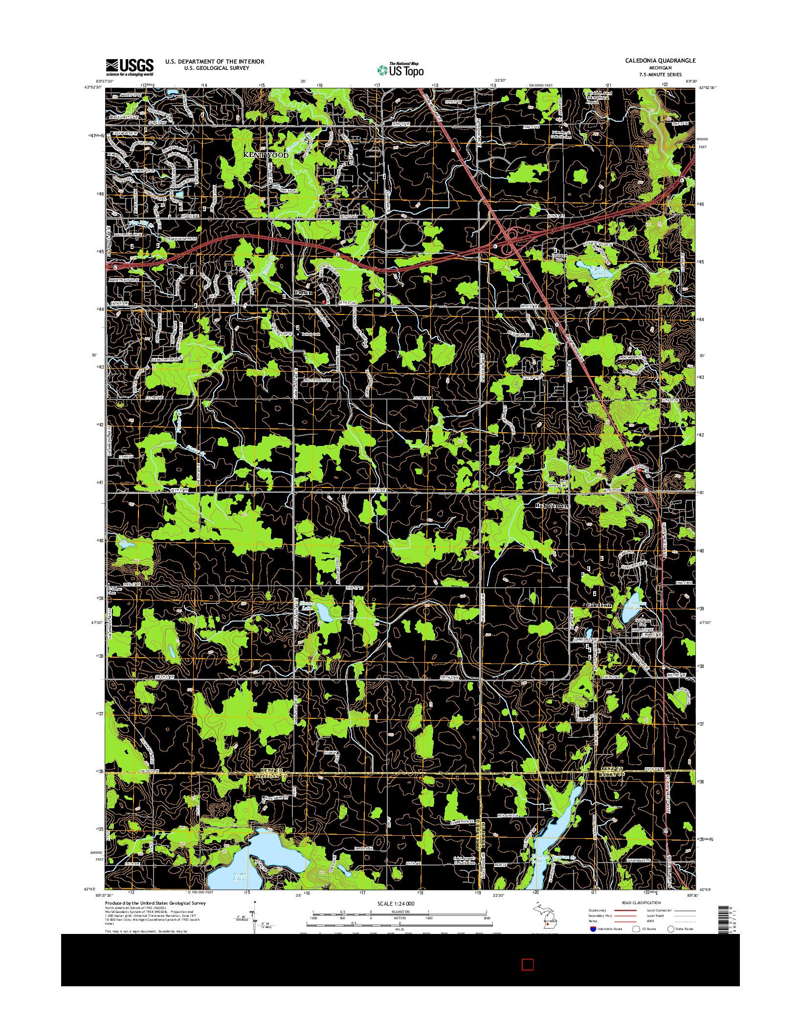 USGS US TOPO 7.5-MINUTE MAP FOR CALEDONIA, MI 2014