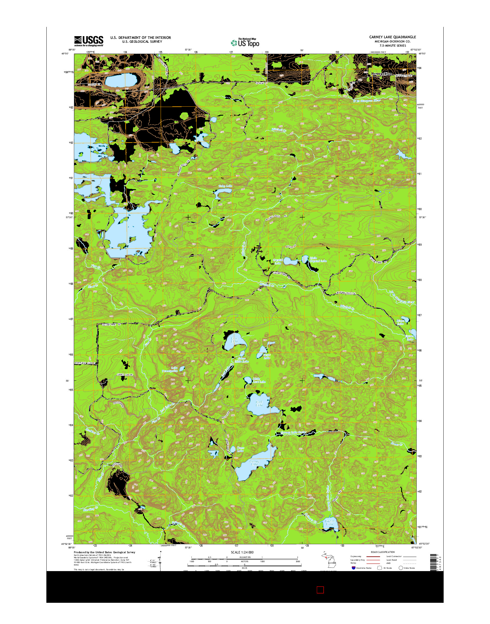 USGS US TOPO 7.5-MINUTE MAP FOR CARNEY LAKE, MI 2014