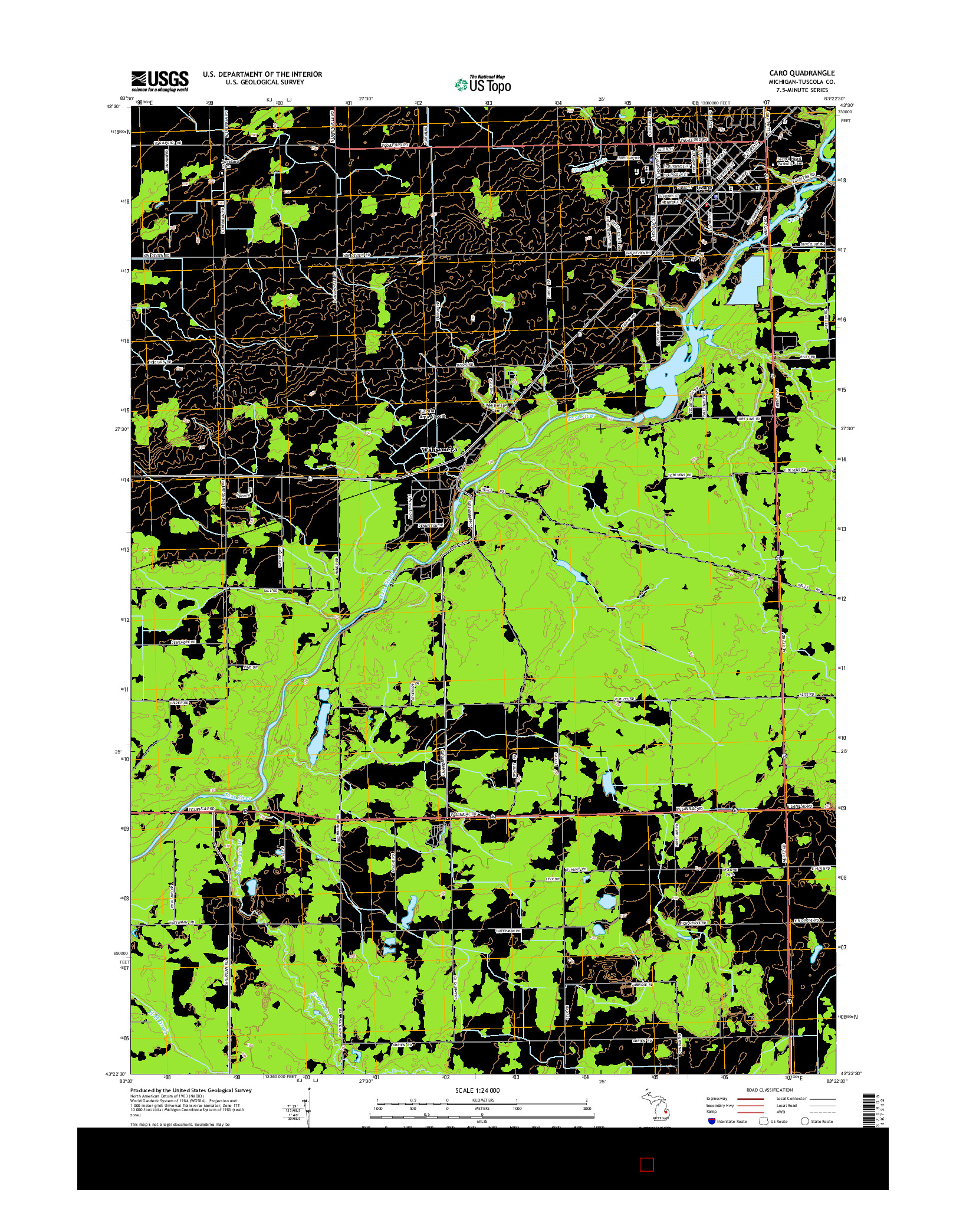 USGS US TOPO 7.5-MINUTE MAP FOR CARO, MI 2014