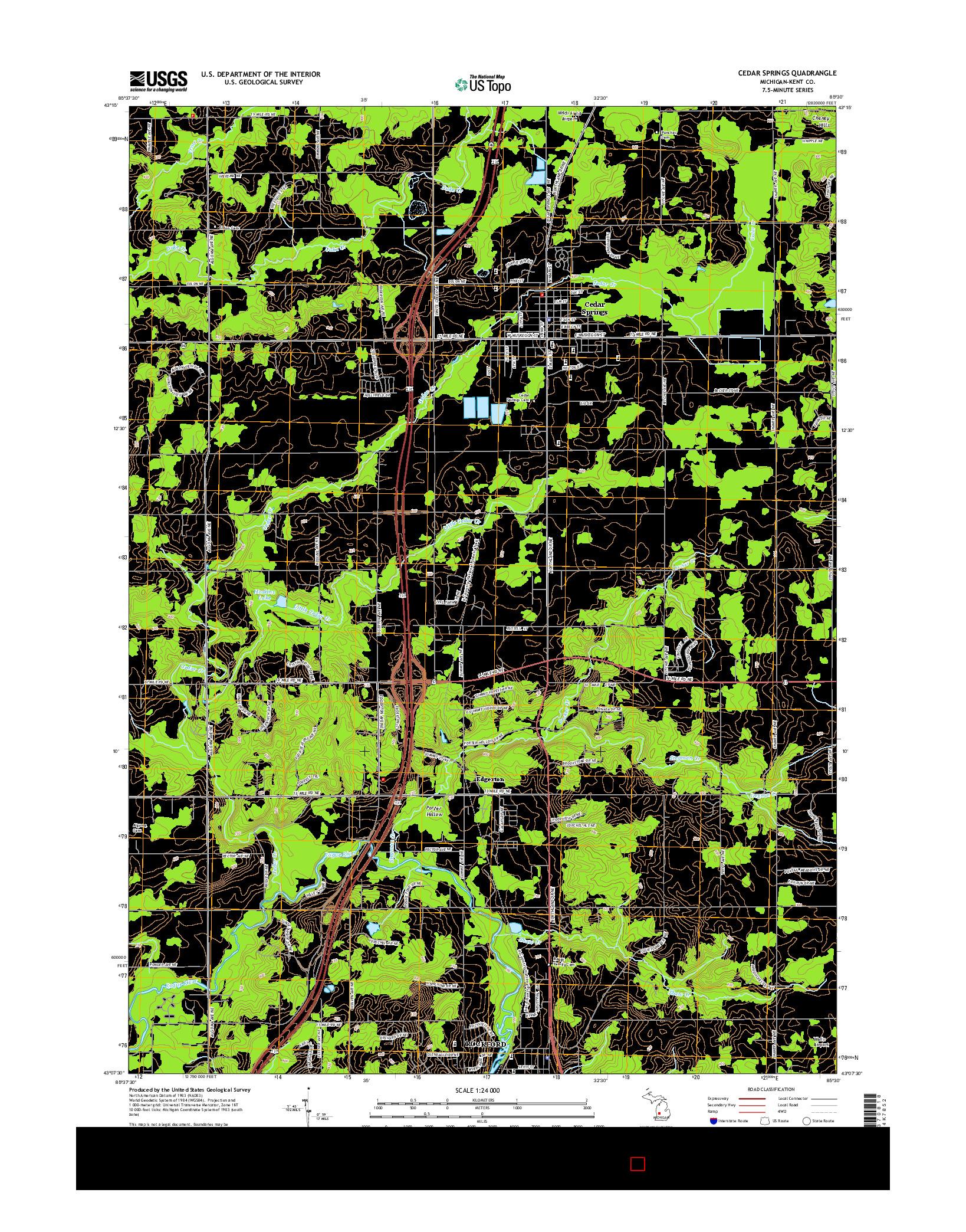 USGS US TOPO 7.5-MINUTE MAP FOR CEDAR SPRINGS, MI 2014