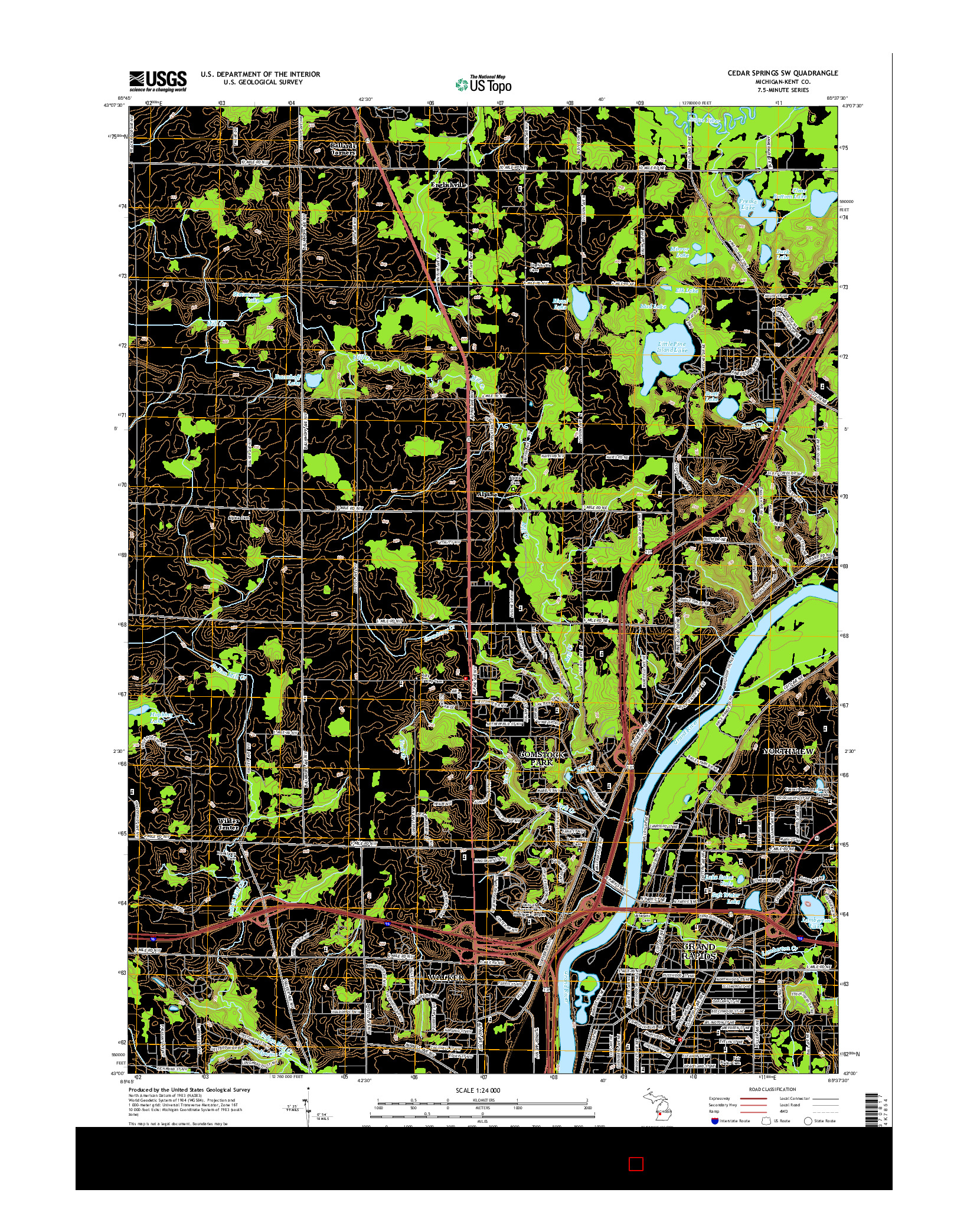 USGS US TOPO 7.5-MINUTE MAP FOR CEDAR SPRINGS SW, MI 2014