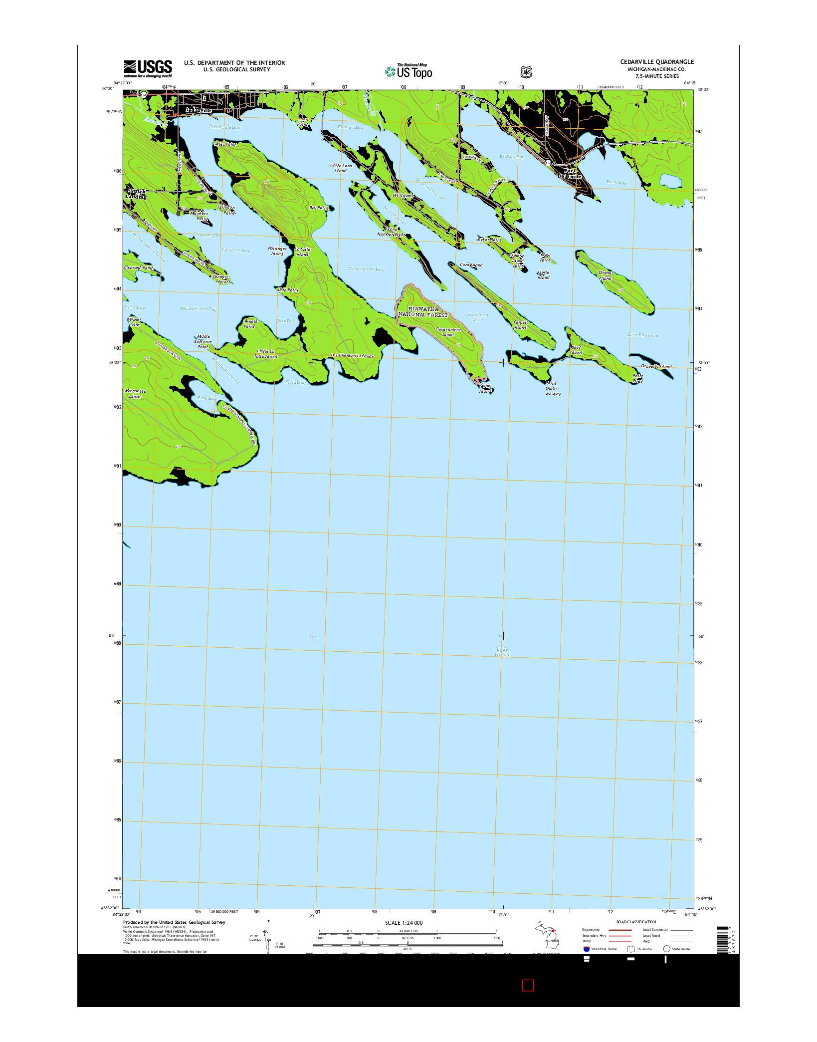 USGS US TOPO 7.5-MINUTE MAP FOR CEDARVILLE, MI 2014