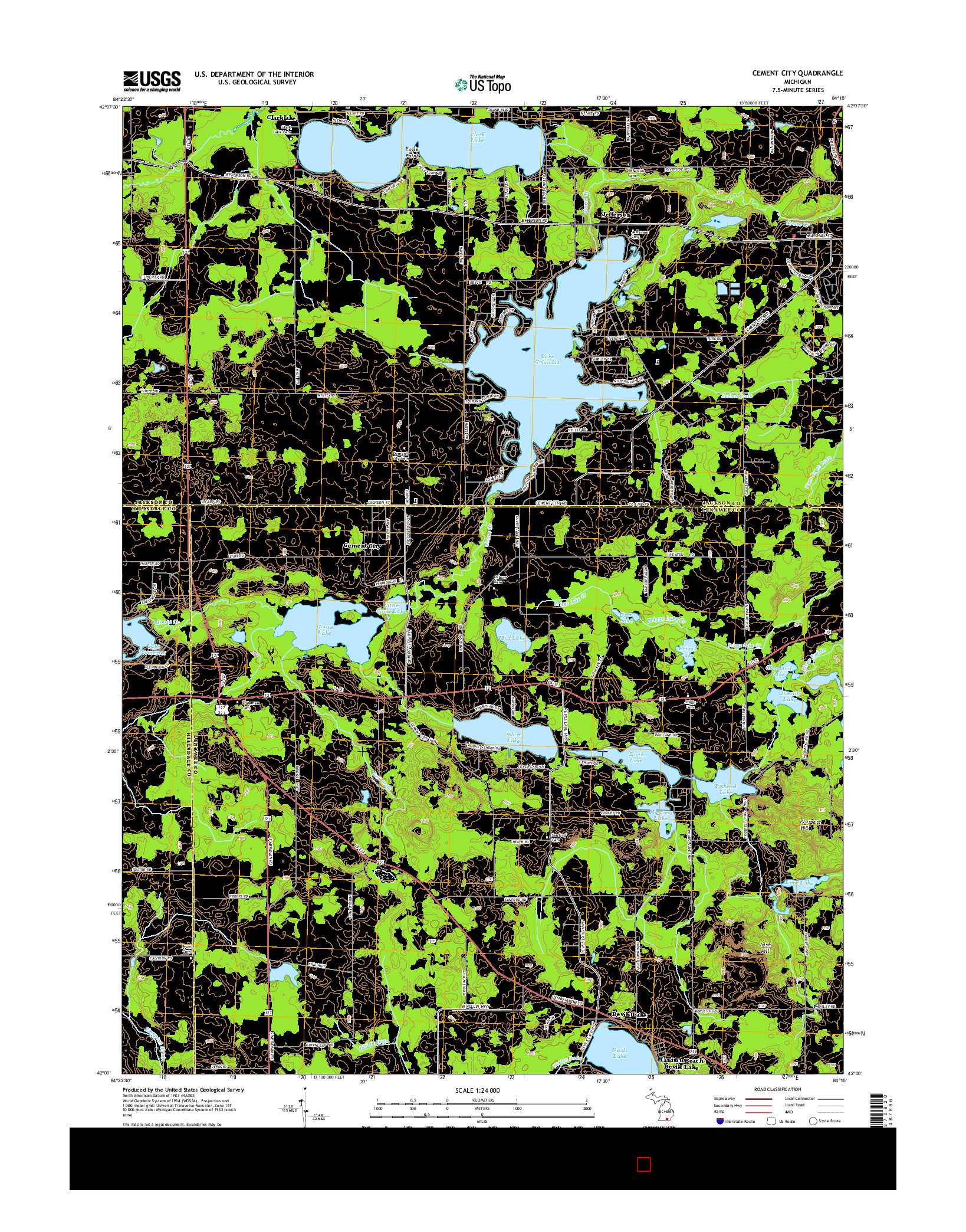 USGS US TOPO 7.5-MINUTE MAP FOR CEMENT CITY, MI 2014