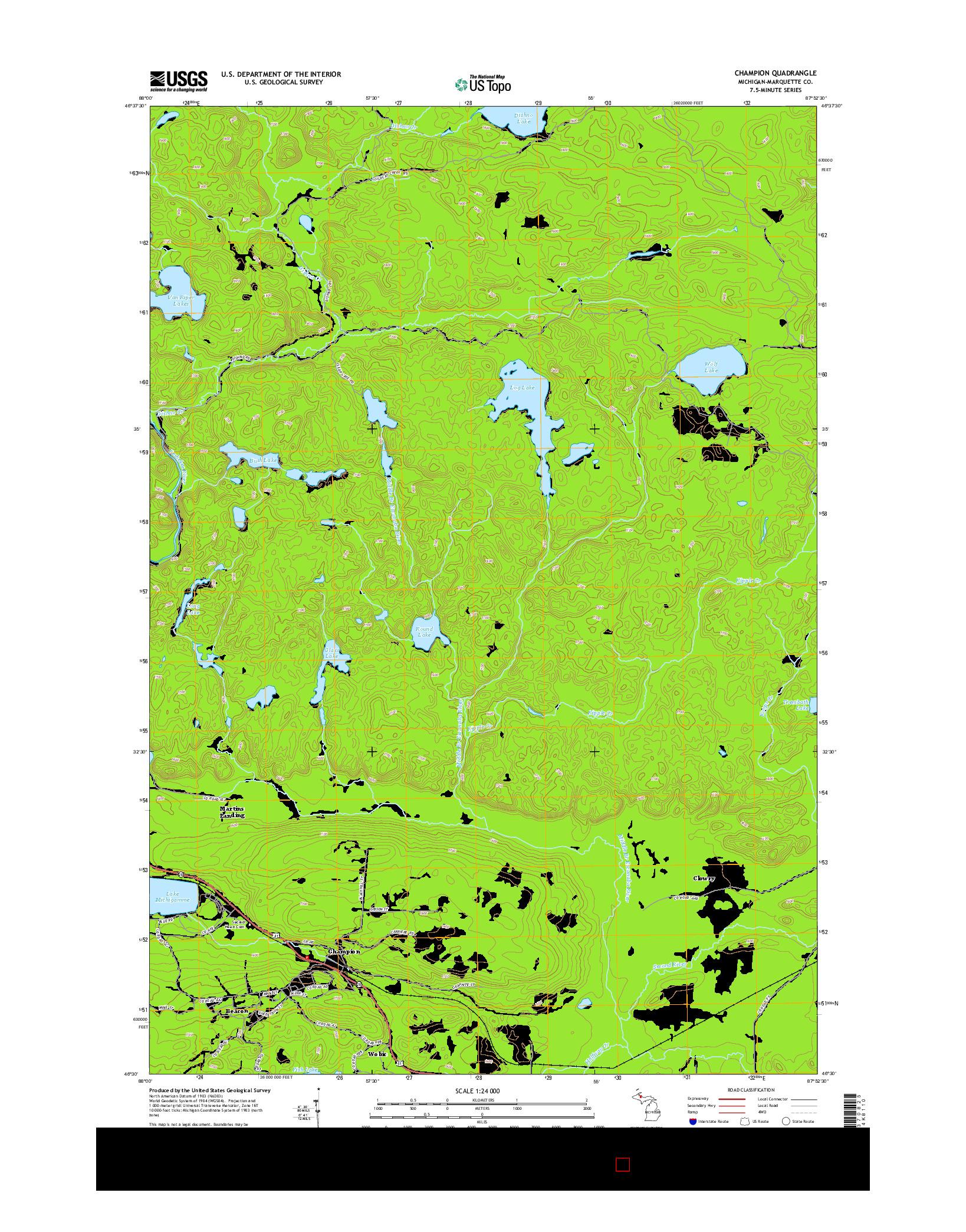 USGS US TOPO 7.5-MINUTE MAP FOR CHAMPION, MI 2014