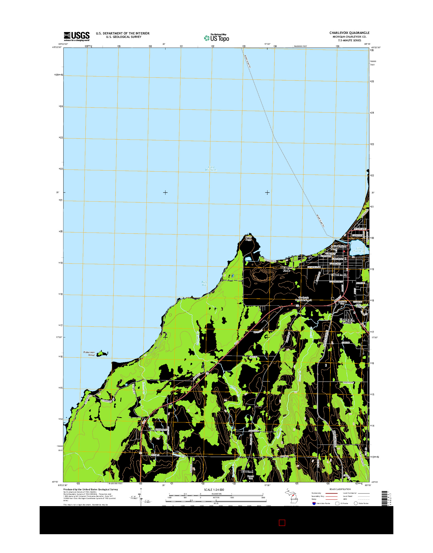 USGS US TOPO 7.5-MINUTE MAP FOR CHARLEVOIX, MI 2014