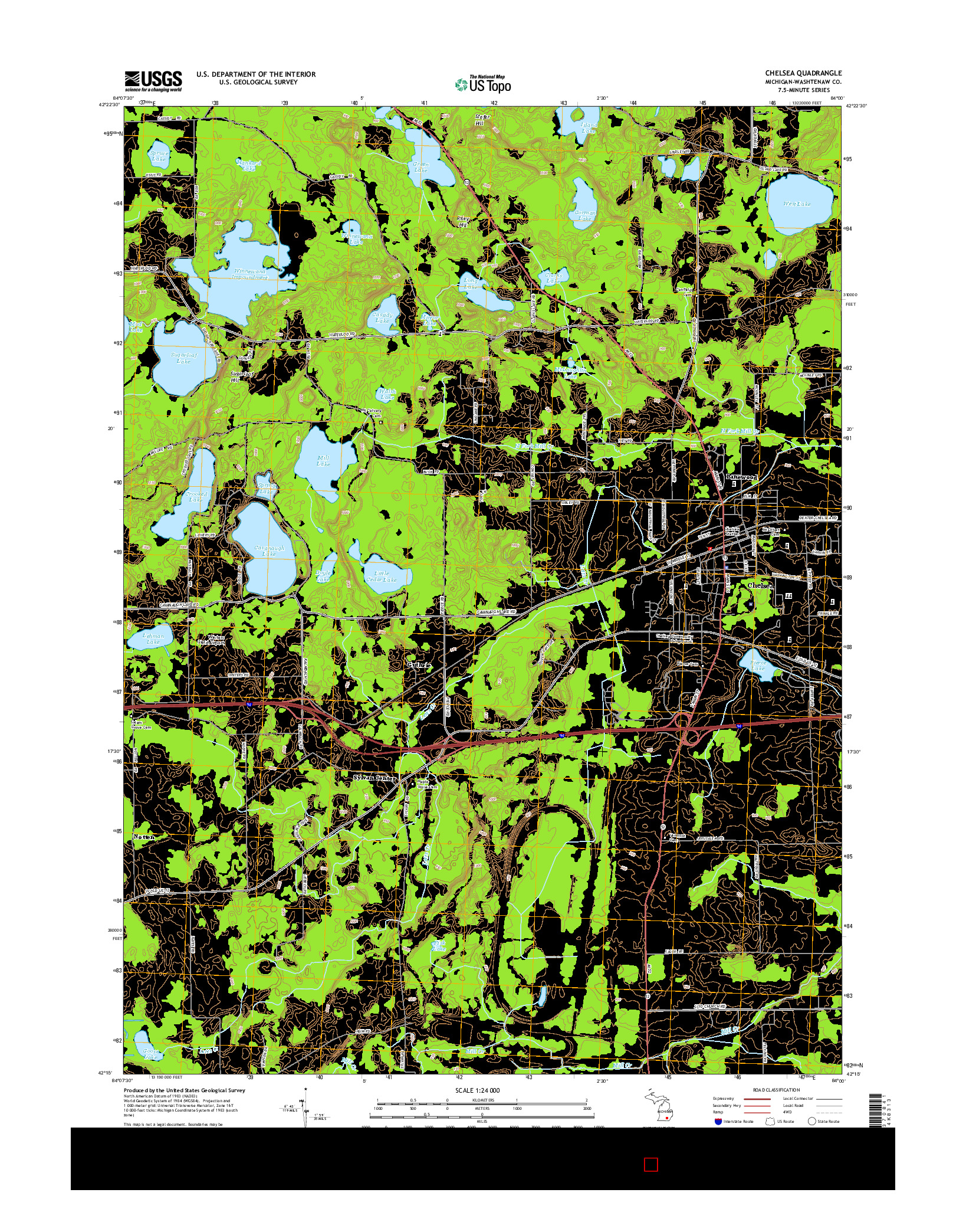 USGS US TOPO 7.5-MINUTE MAP FOR CHELSEA, MI 2014