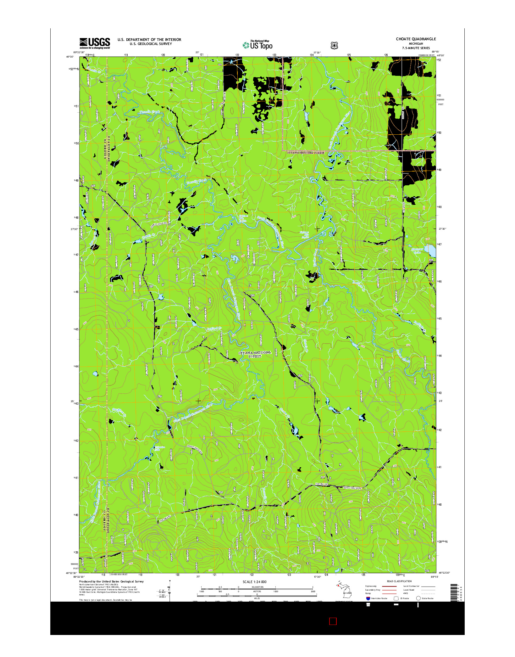 USGS US TOPO 7.5-MINUTE MAP FOR CHOATE, MI 2014