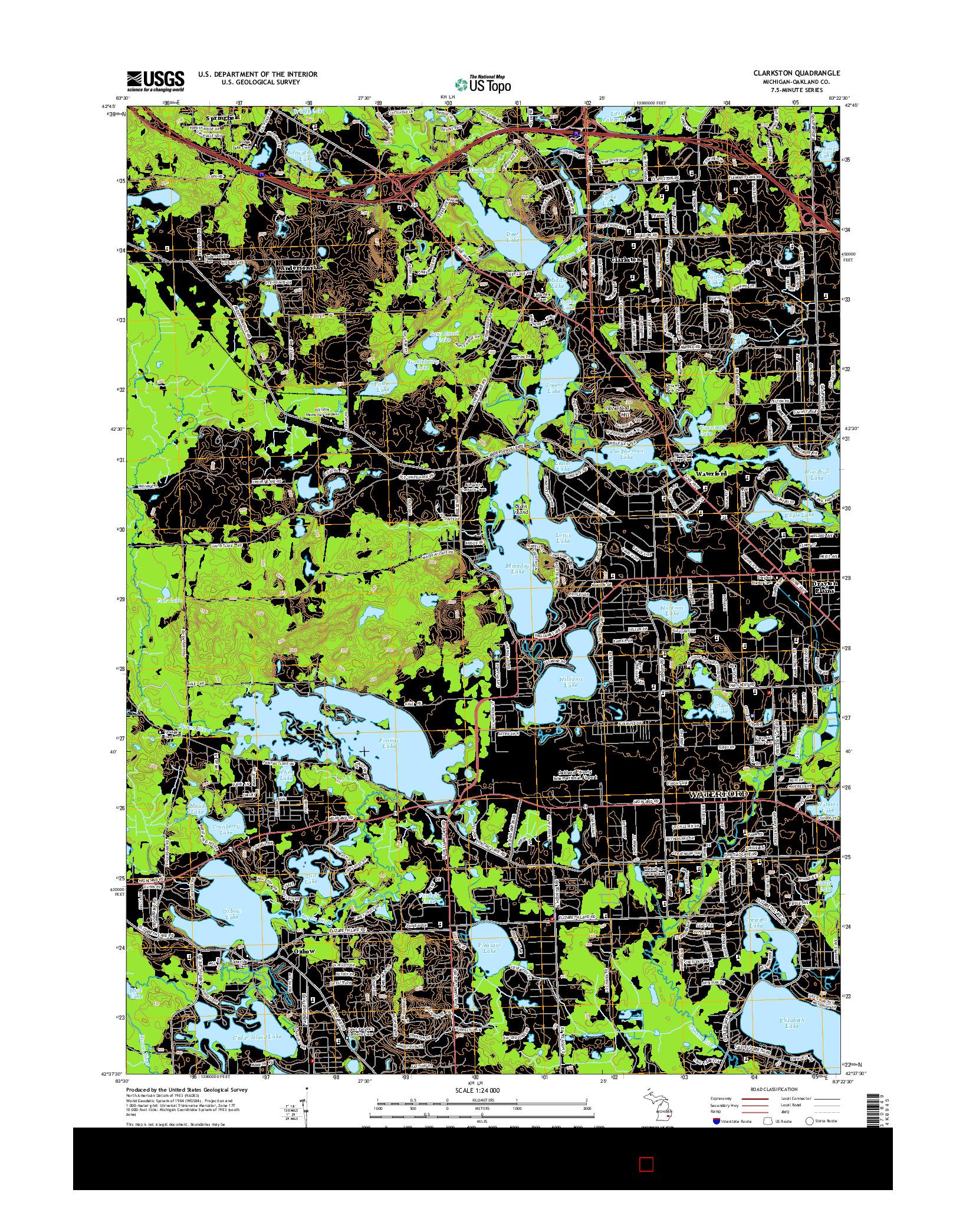 USGS US TOPO 7.5-MINUTE MAP FOR CLARKSTON, MI 2014
