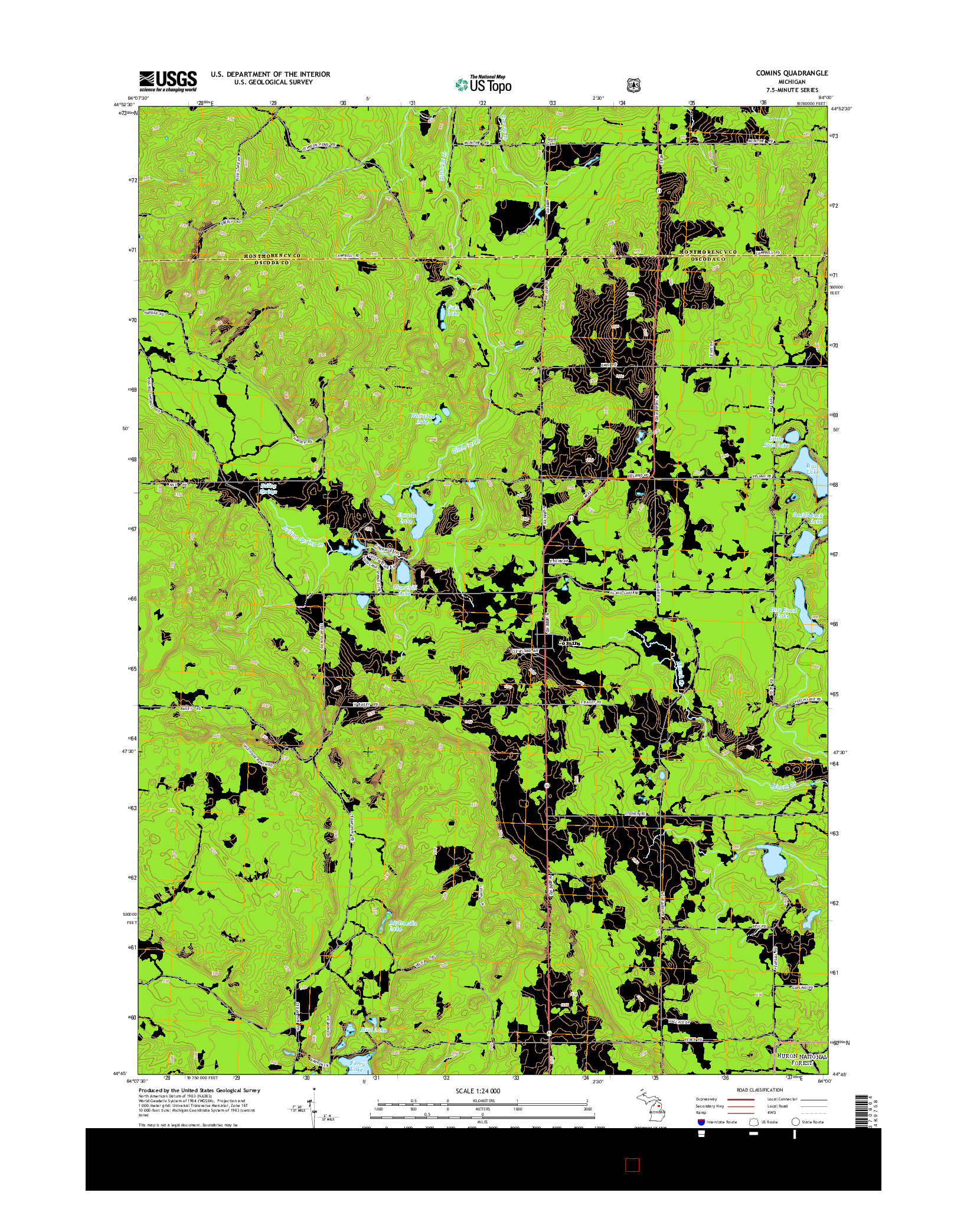 USGS US TOPO 7.5-MINUTE MAP FOR COMINS, MI 2014