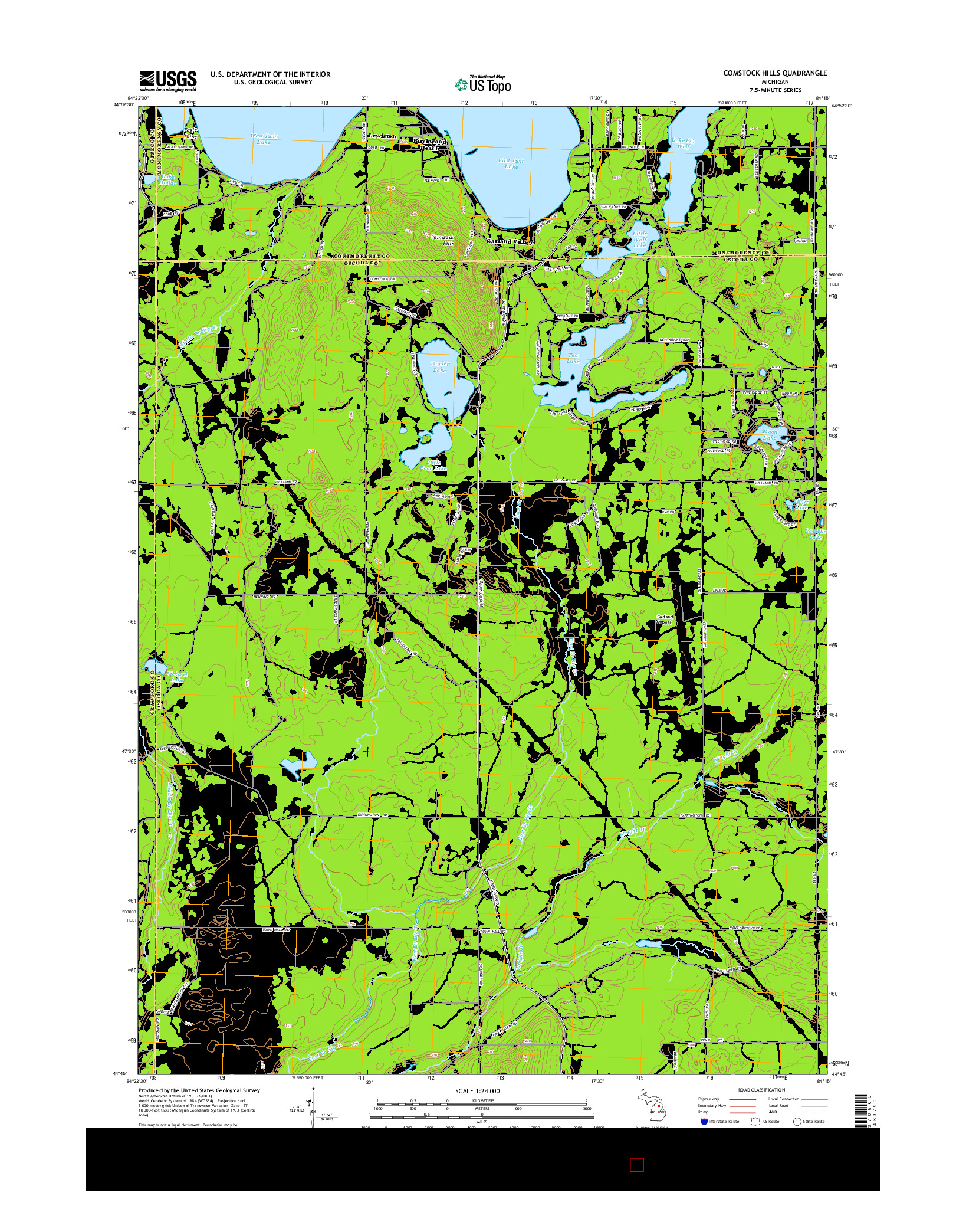 USGS US TOPO 7.5-MINUTE MAP FOR COMSTOCK HILLS, MI 2014
