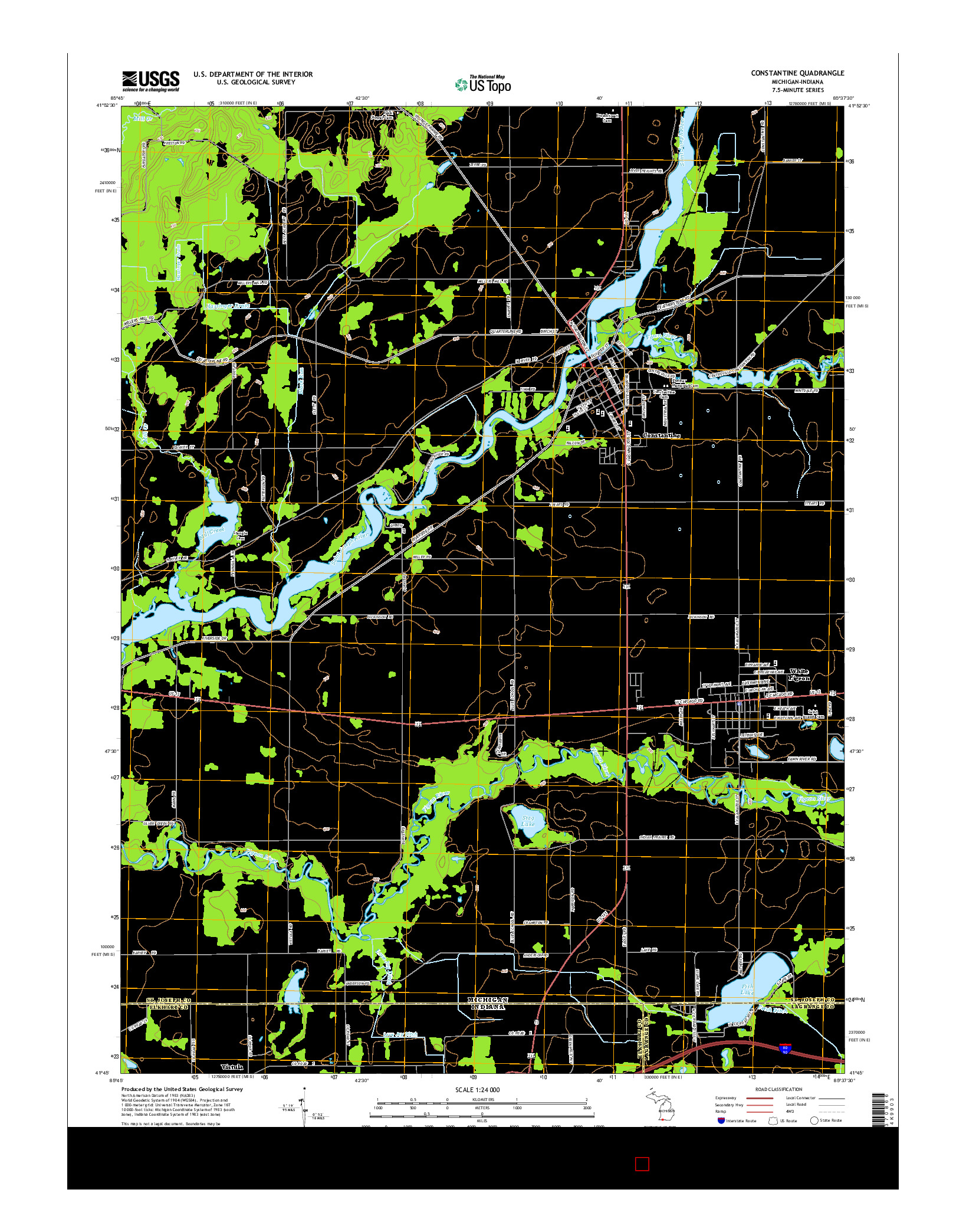 USGS US TOPO 7.5-MINUTE MAP FOR CONSTANTINE, MI-IN 2014