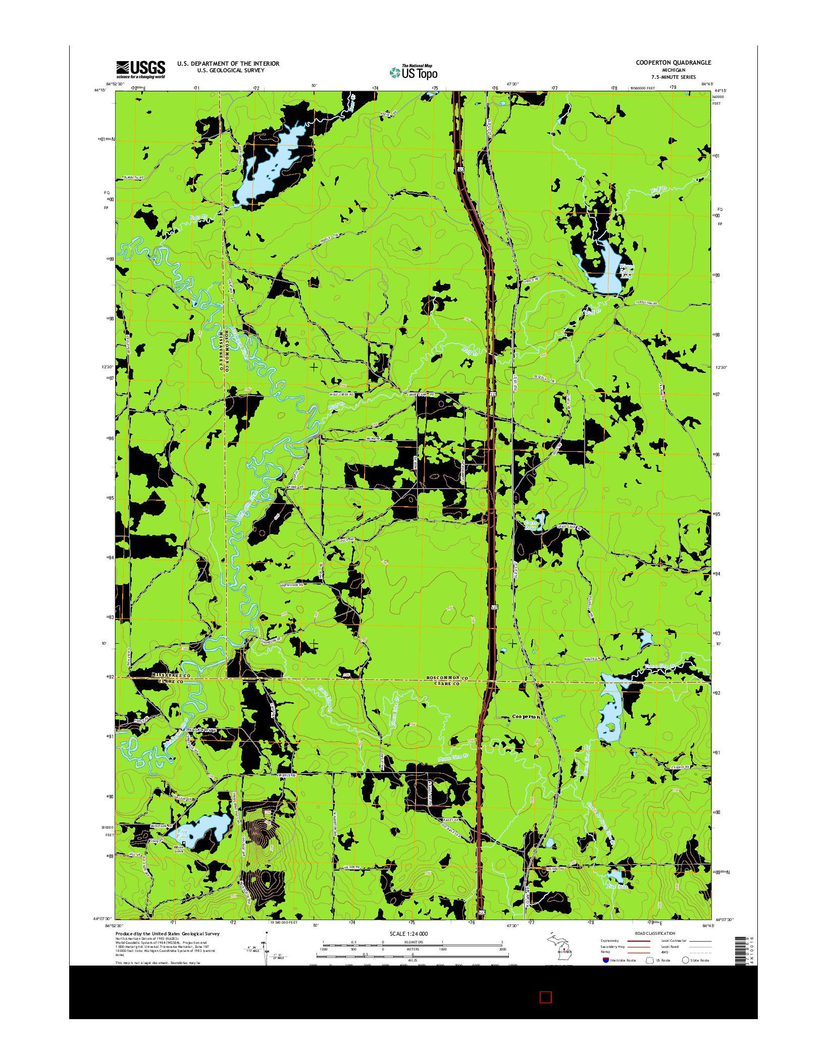 USGS US TOPO 7.5-MINUTE MAP FOR COOPERTON, MI 2014