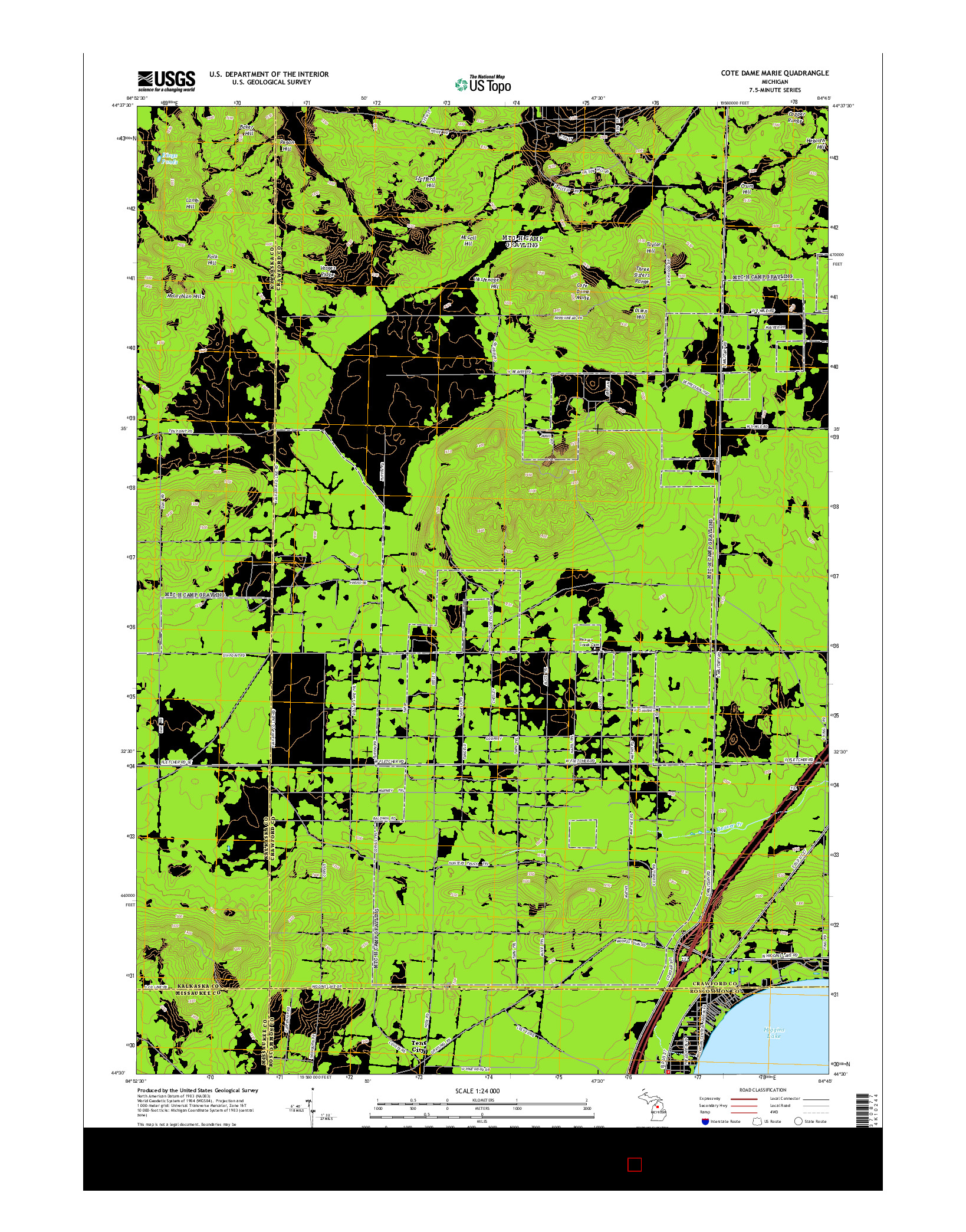 USGS US TOPO 7.5-MINUTE MAP FOR COTE DAME MARIE, MI 2014