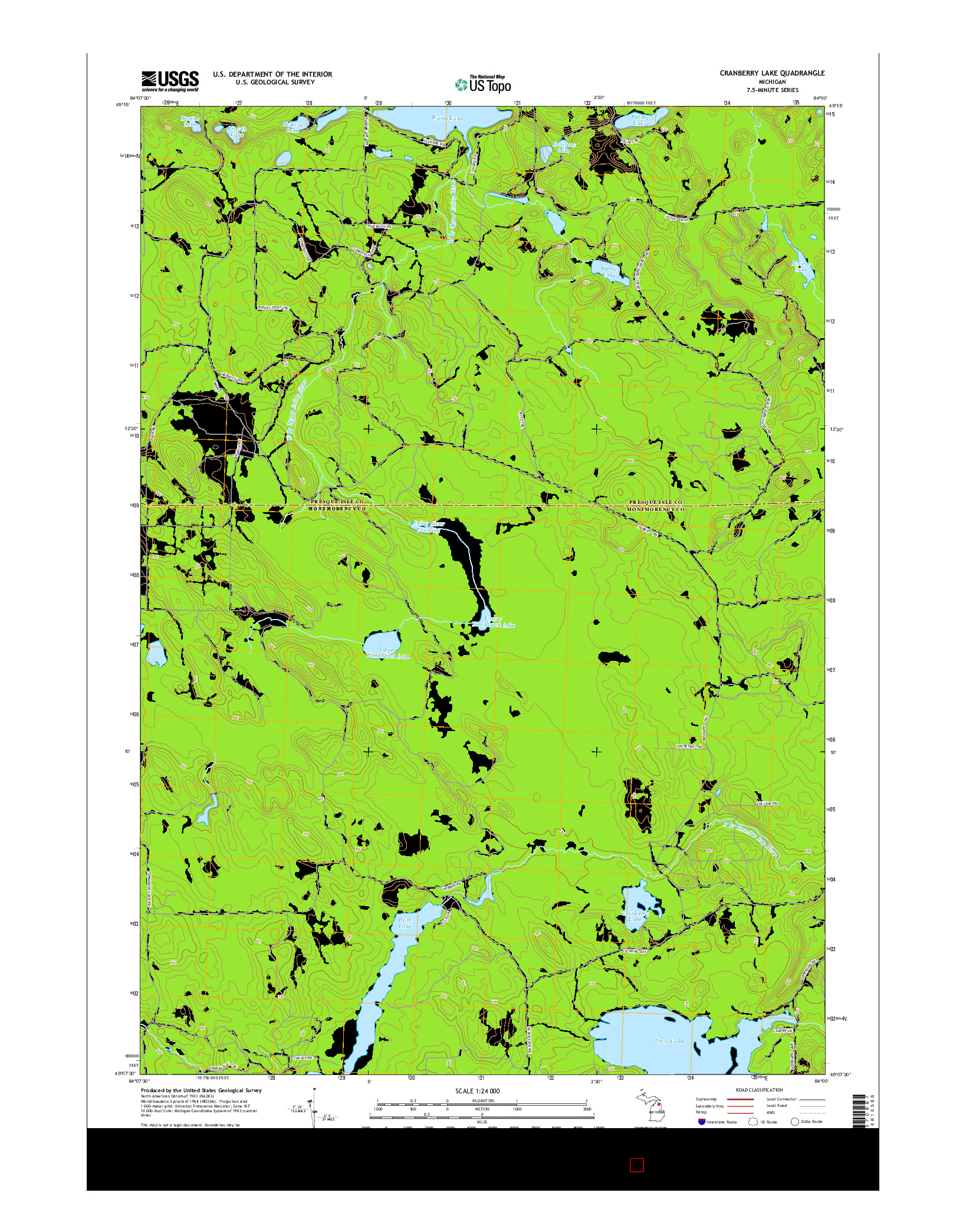 USGS US TOPO 7.5-MINUTE MAP FOR CRANBERRY LAKE, MI 2014