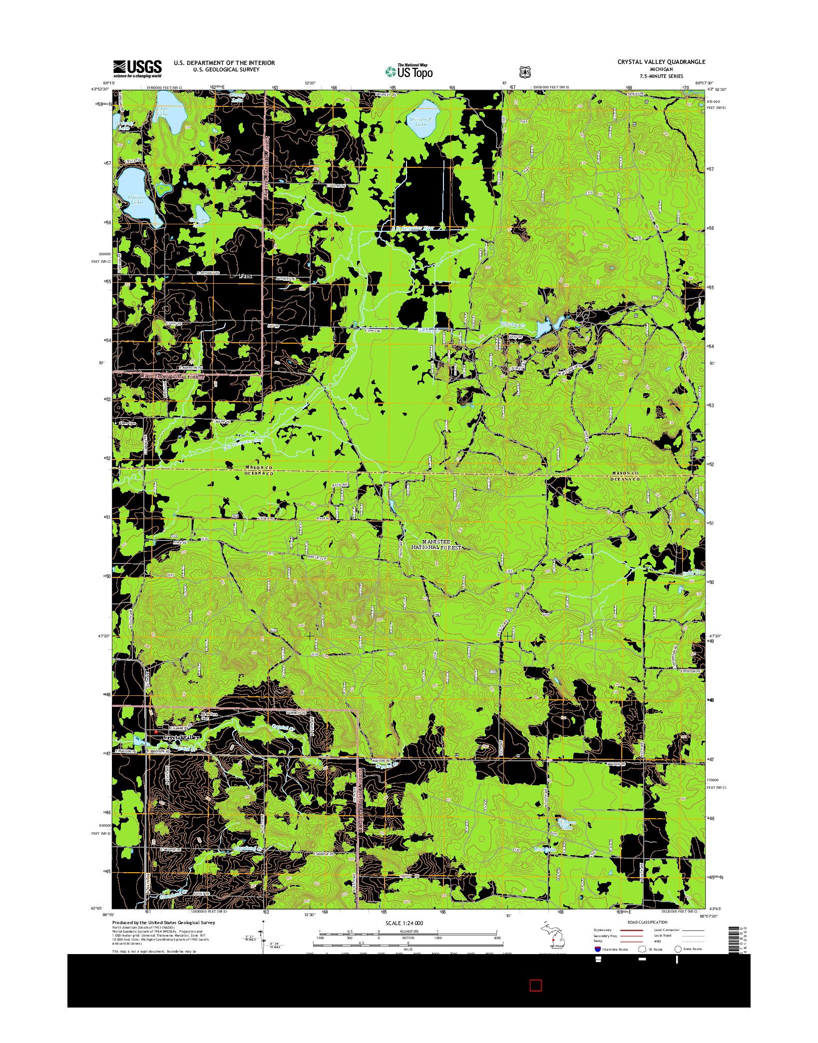 USGS US TOPO 7.5-MINUTE MAP FOR CRYSTAL VALLEY, MI 2014