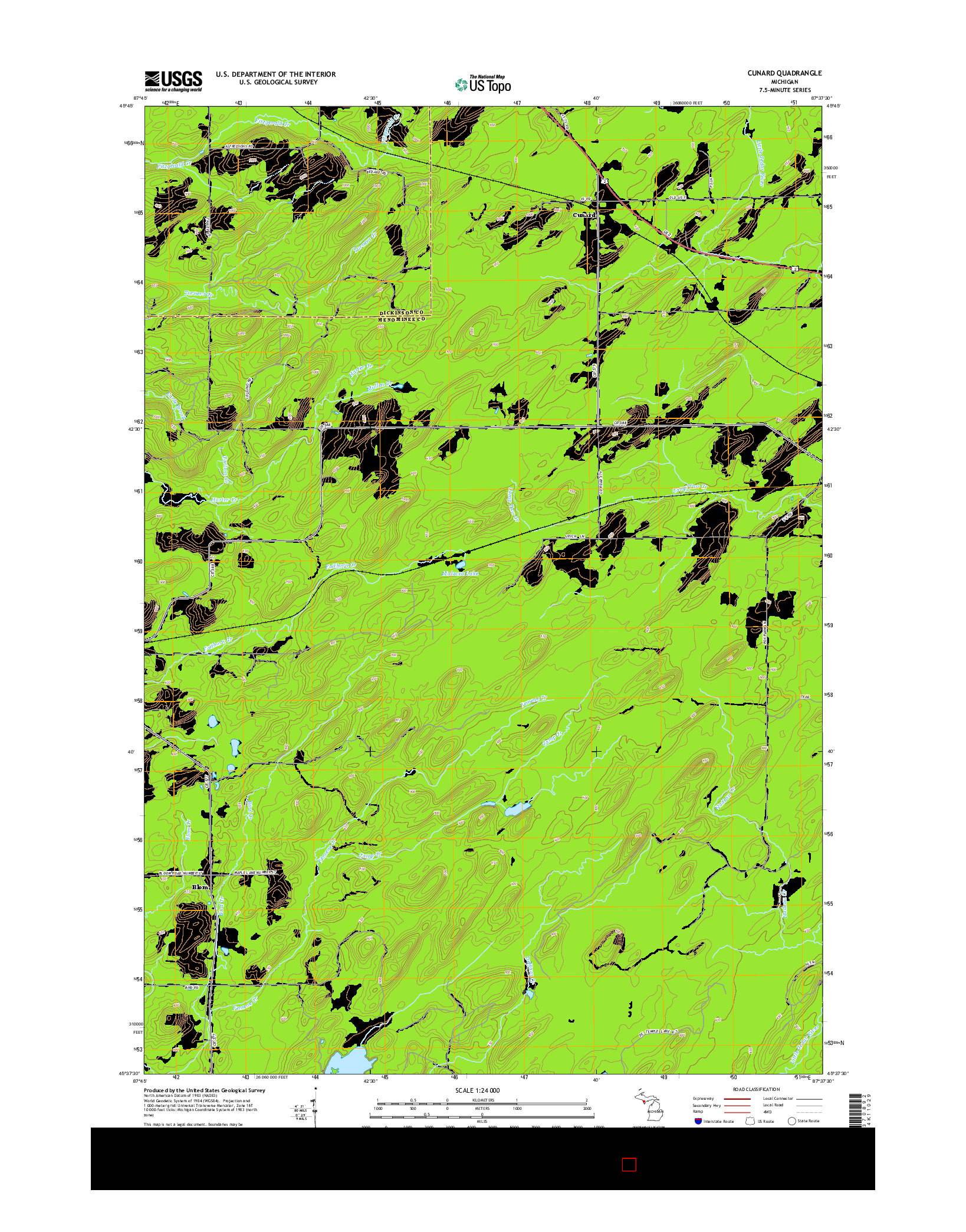 USGS US TOPO 7.5-MINUTE MAP FOR CUNARD, MI 2014