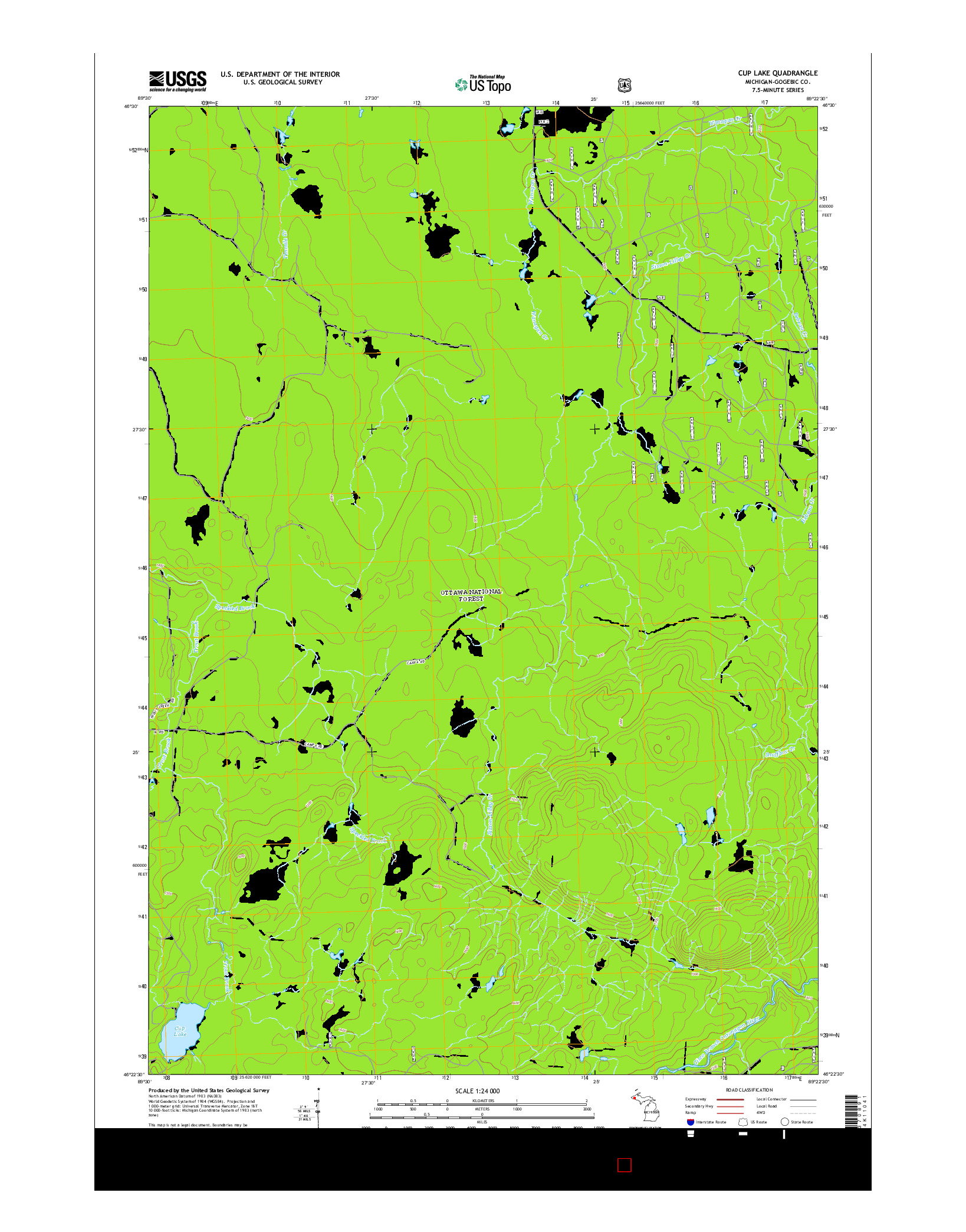 USGS US TOPO 7.5-MINUTE MAP FOR CUP LAKE, MI 2014